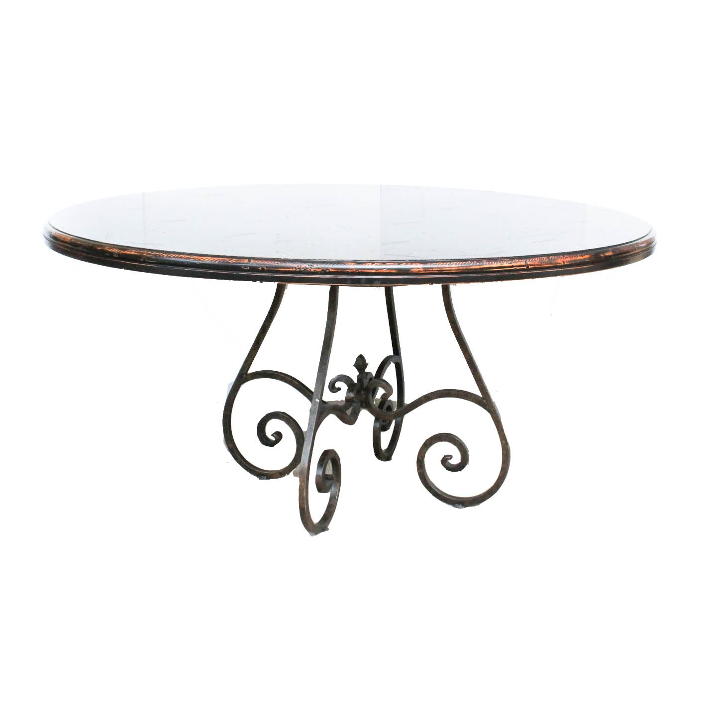 Distressed Wood Dining Table with Metal Base