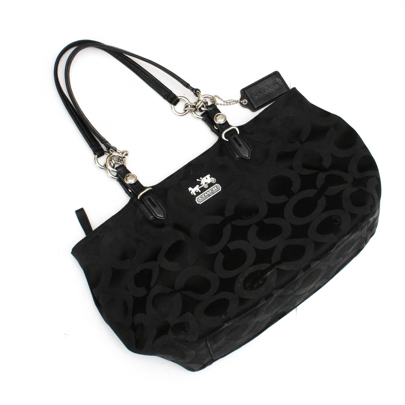 Coach Mia Black Monogramed Sateen Tote Carryall