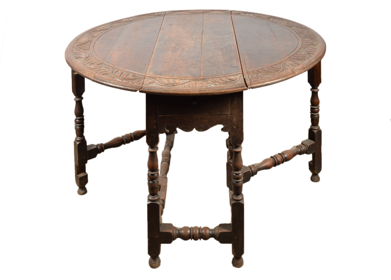 Antique William and Mary Style Oak Drop Leaf Dining Table