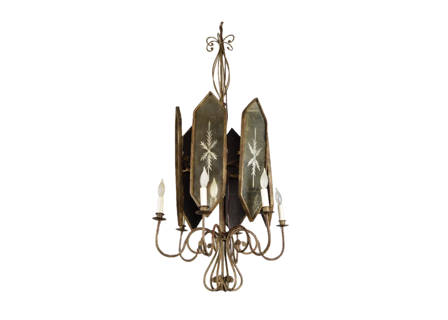 Etched Mirrored Panel and Wrought Metal Chandelier