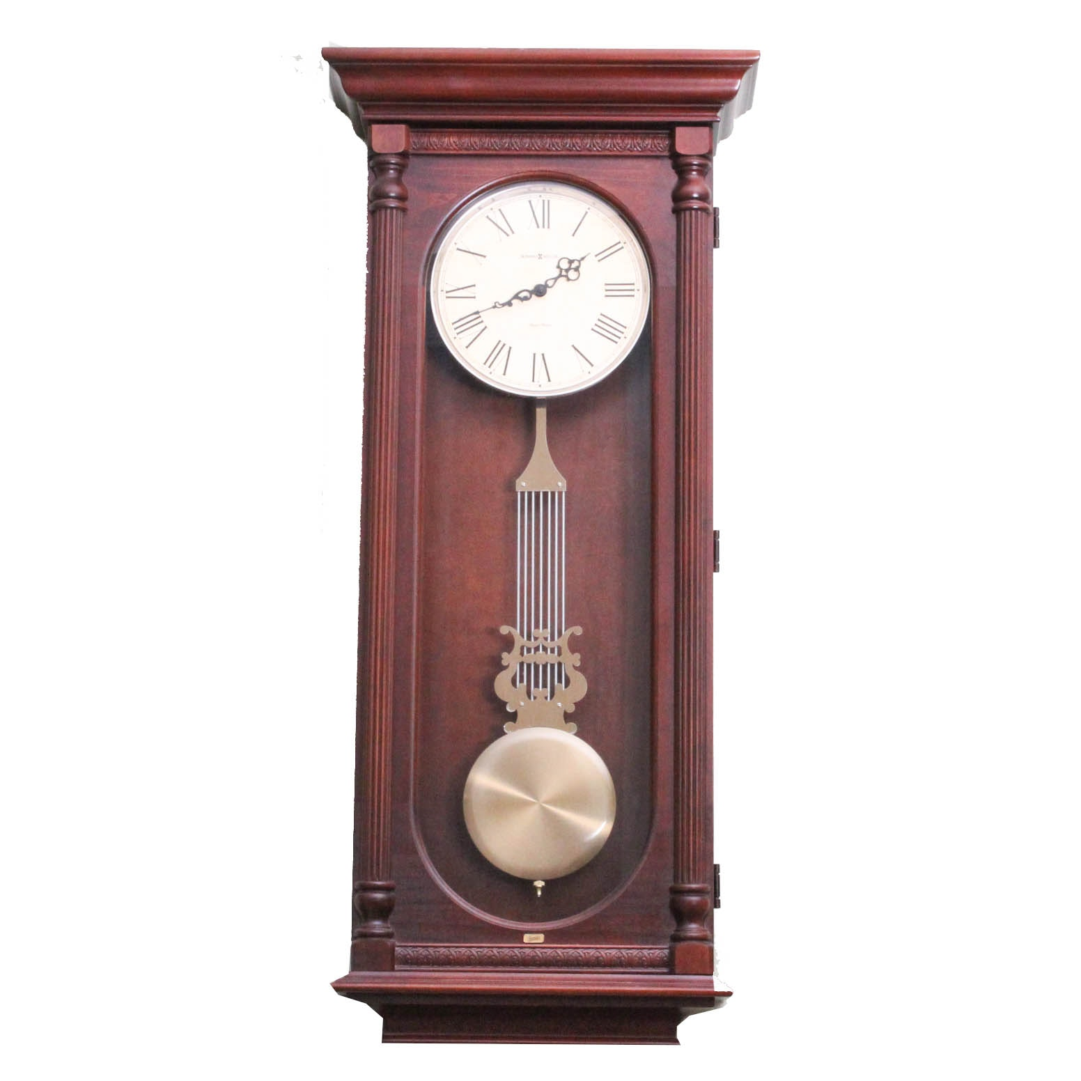 "Howard Miller Dual Chime Pendulum Wall Clock with ""Wendy's"" Brass Logo Plaque"