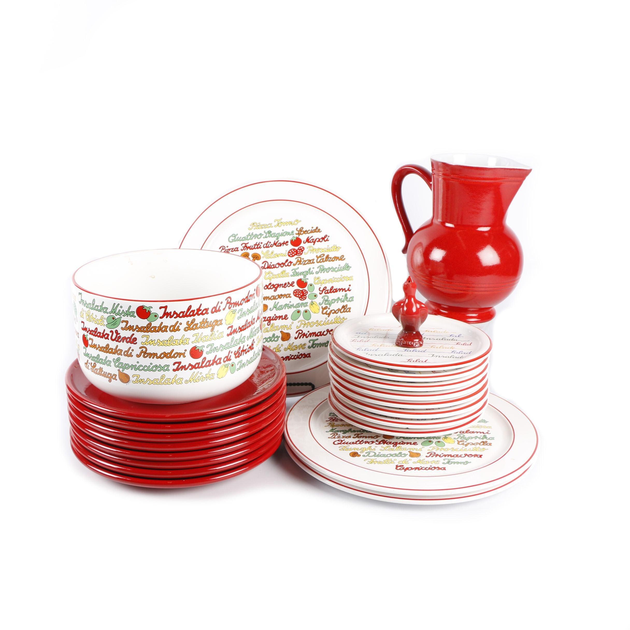Waechtersbach Tableware, Emile Henry Pitcher and Le Creuset Pie Bird