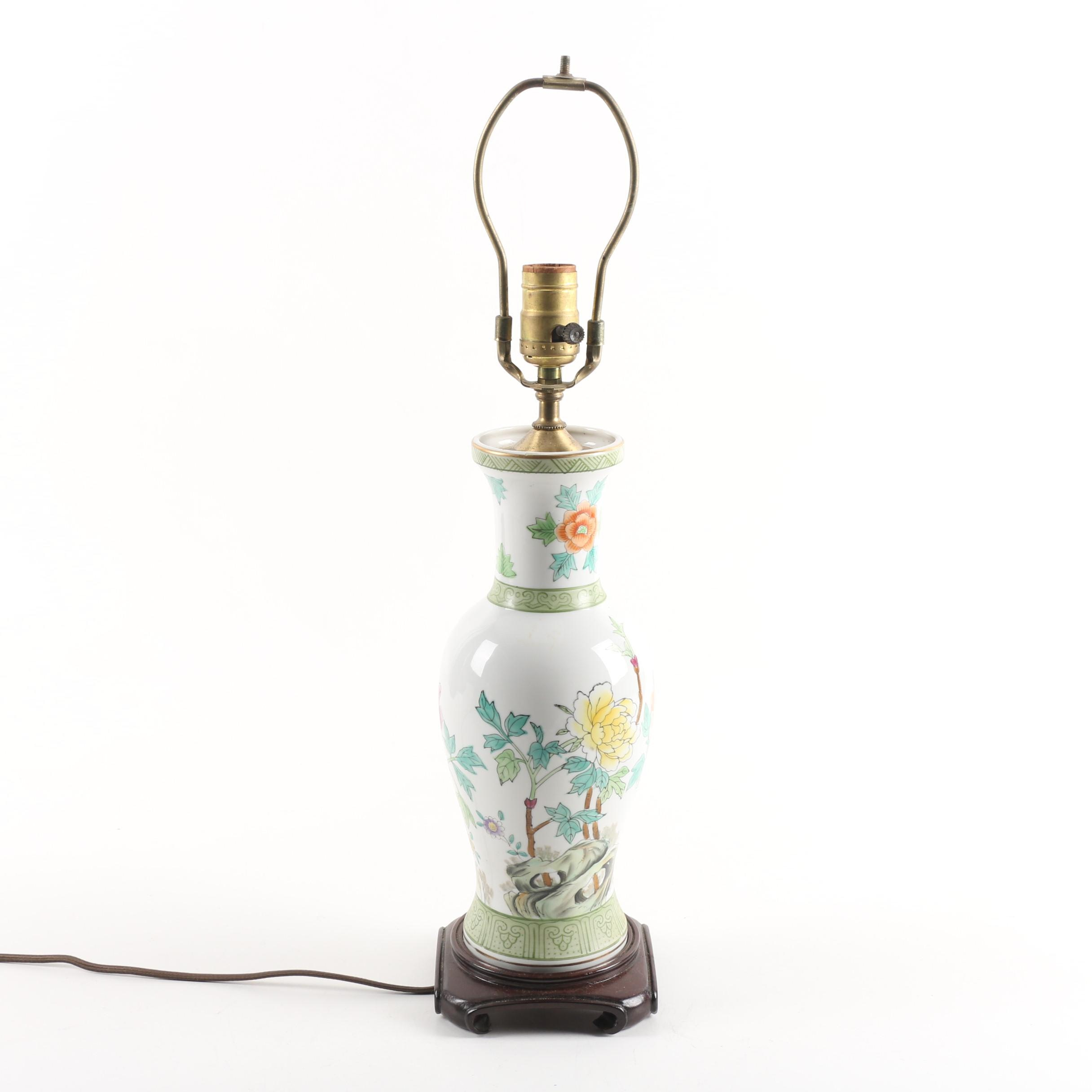 Chinoiserie Hand-Painted Vase Form Porcelain Table Lamp