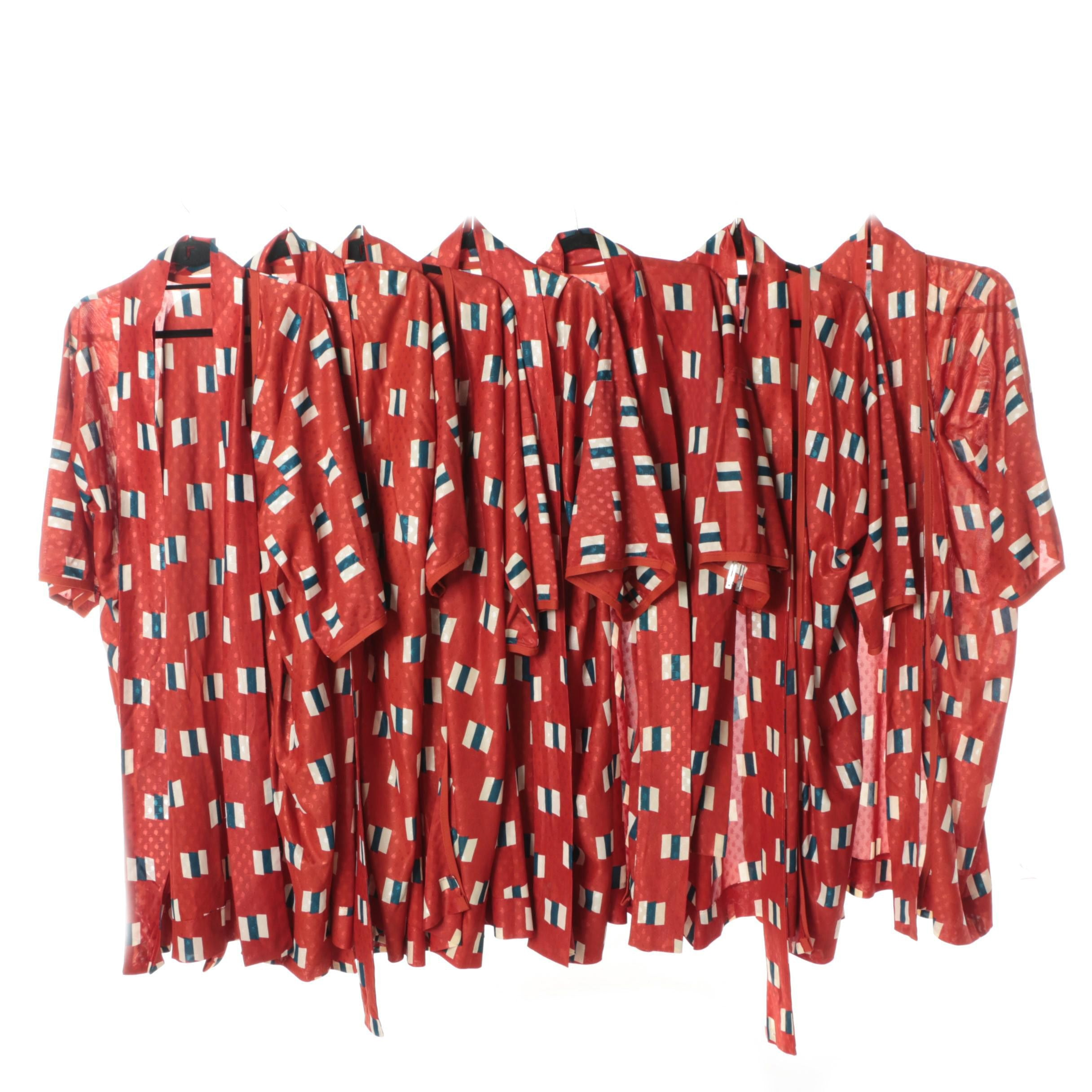 Women's Vintage Red Polyester Robes with Geometric Prints