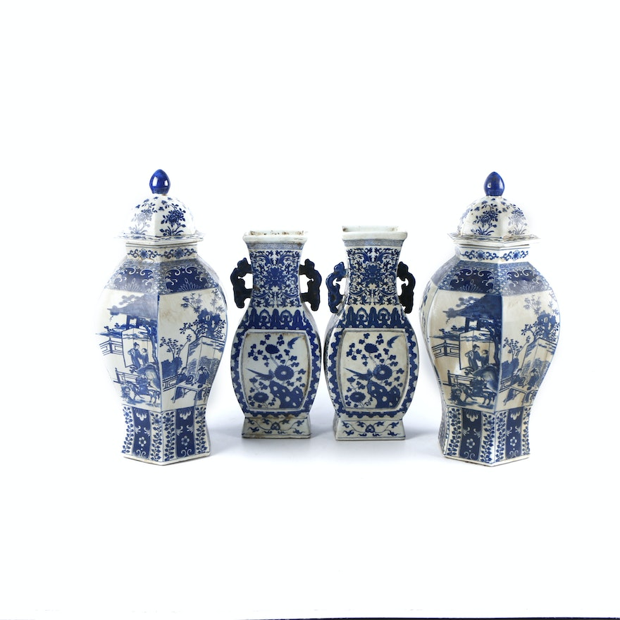Chinese Hand Painted Blue And White Decorative Porcelain Vases And