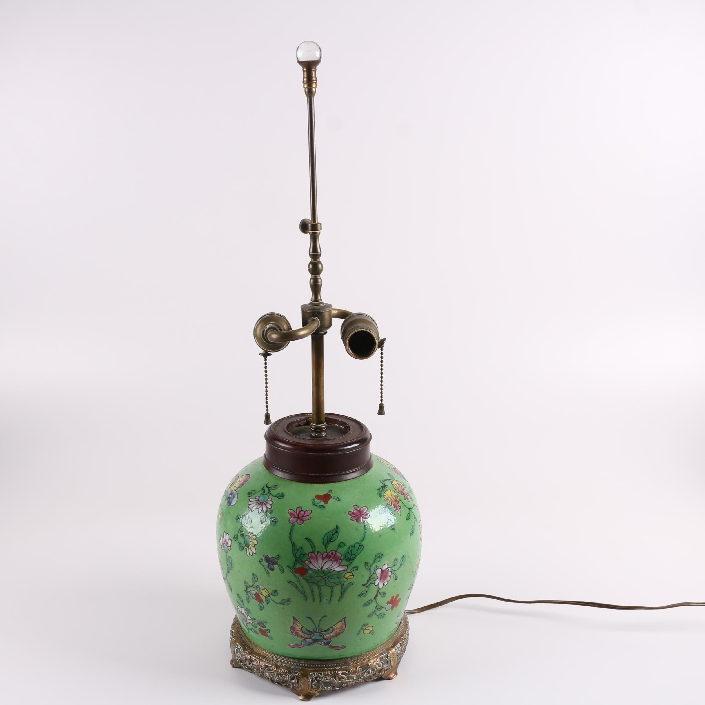 Chinese Famille Verte Style Ceramic Lamp with Reticulated Metal Base