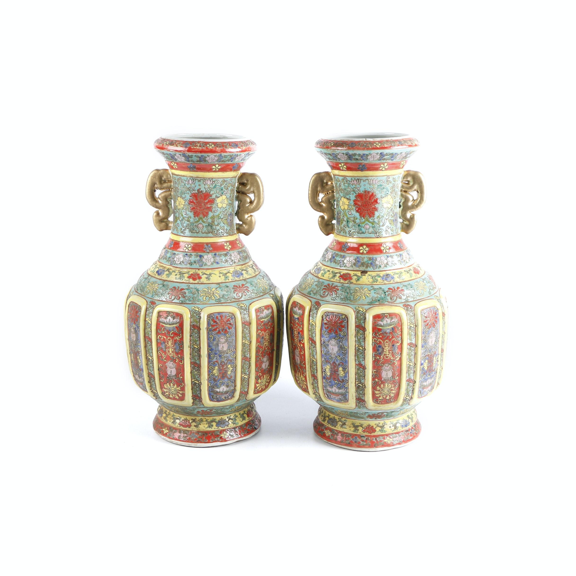 Hand-Painted Chinese Ceramic Vases