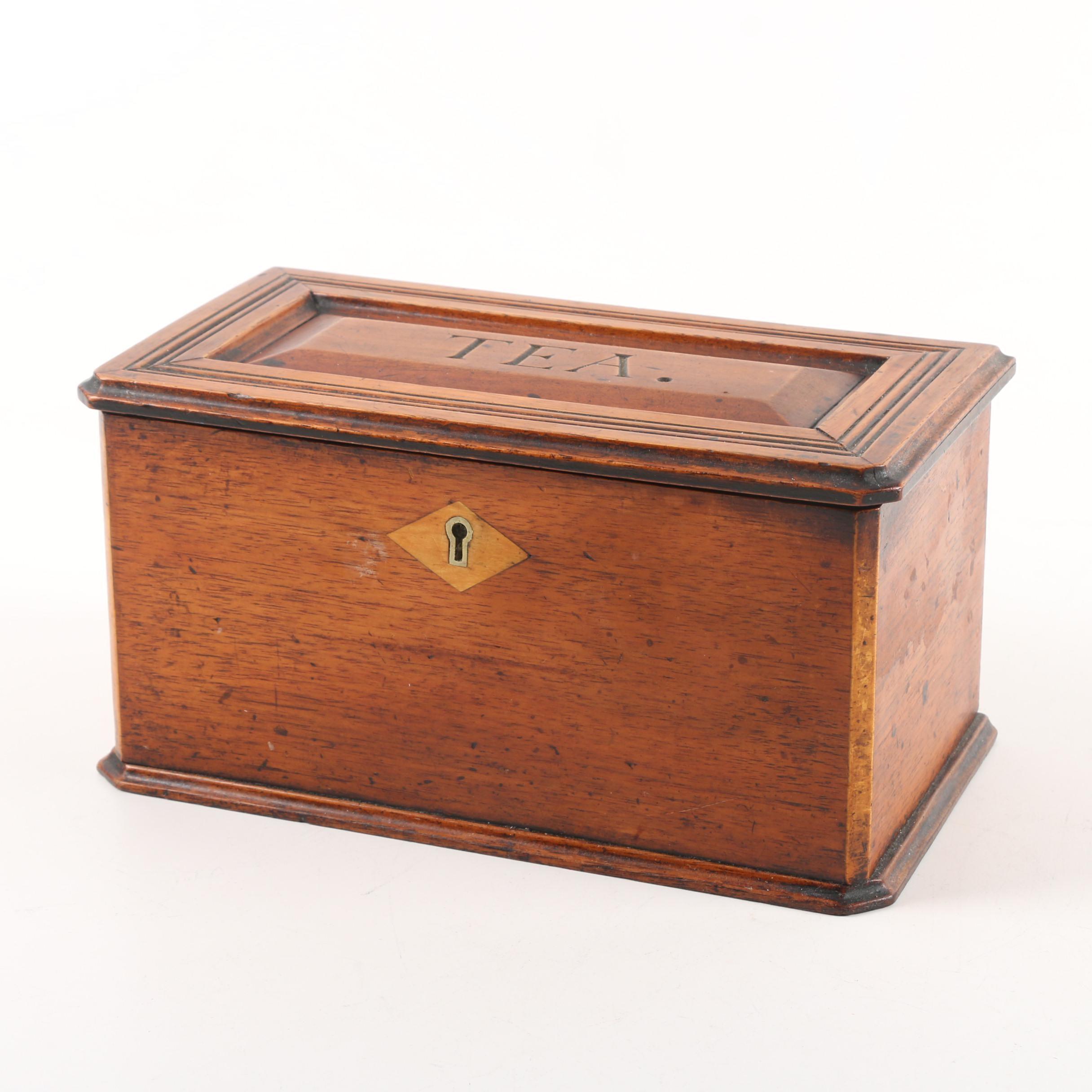 Antique Mahogany English Tea Caddy
