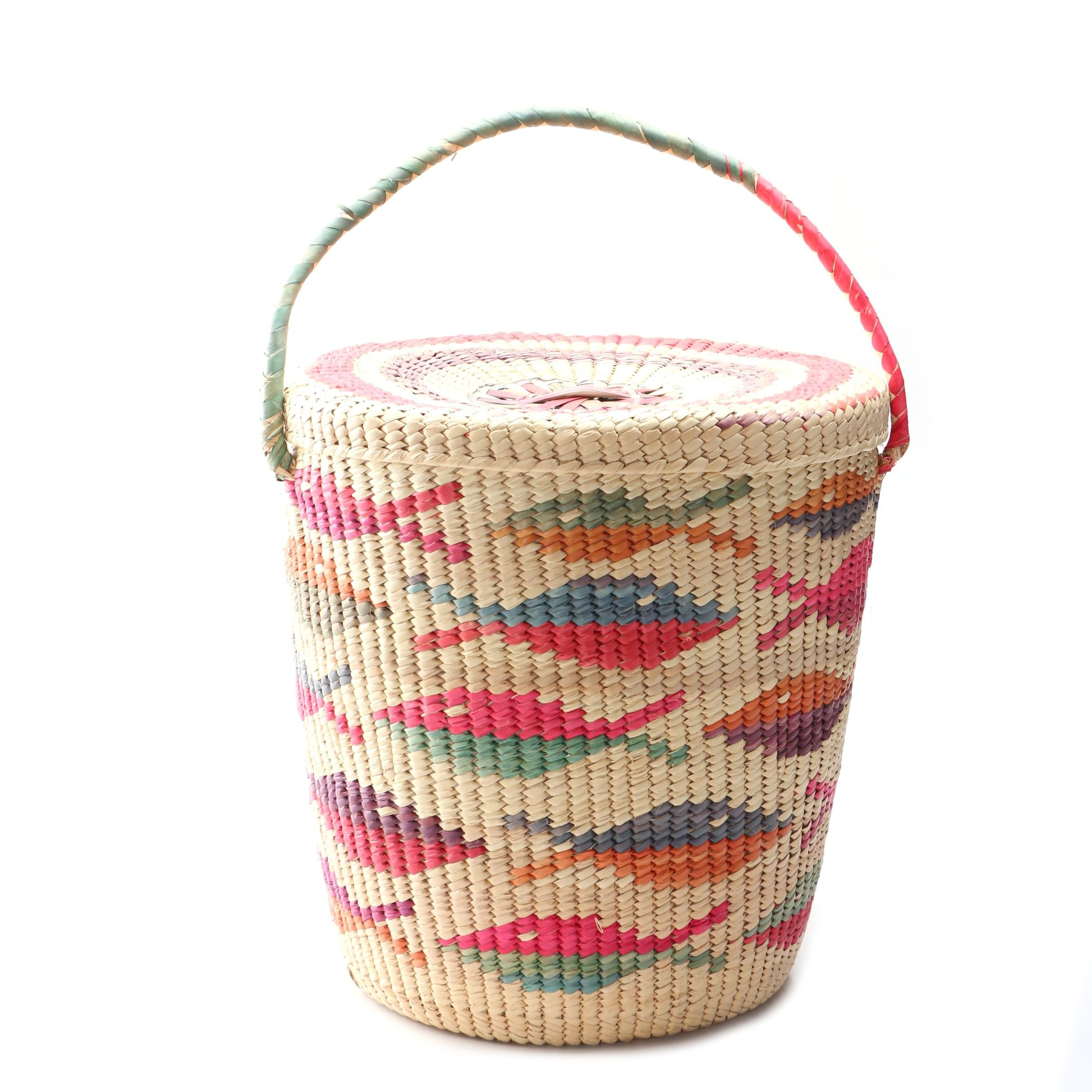 Large Woven Covered and Handled Basket with Fish Pattern