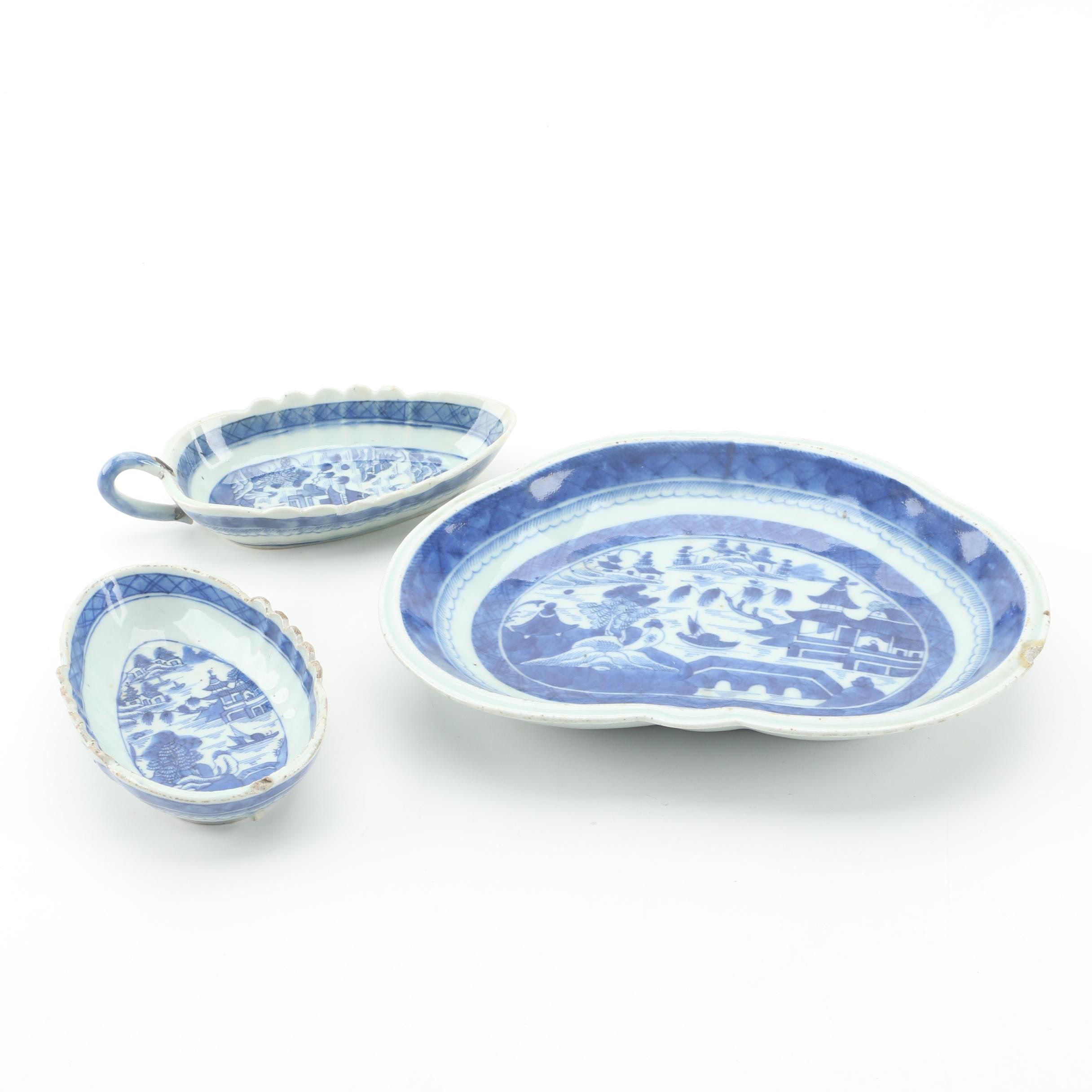 Antique 19th Century Chinese Canton Style Porcelain Serveware