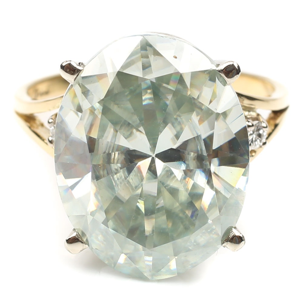 18K Yellow Gold Moissanite and Diamond Ring
