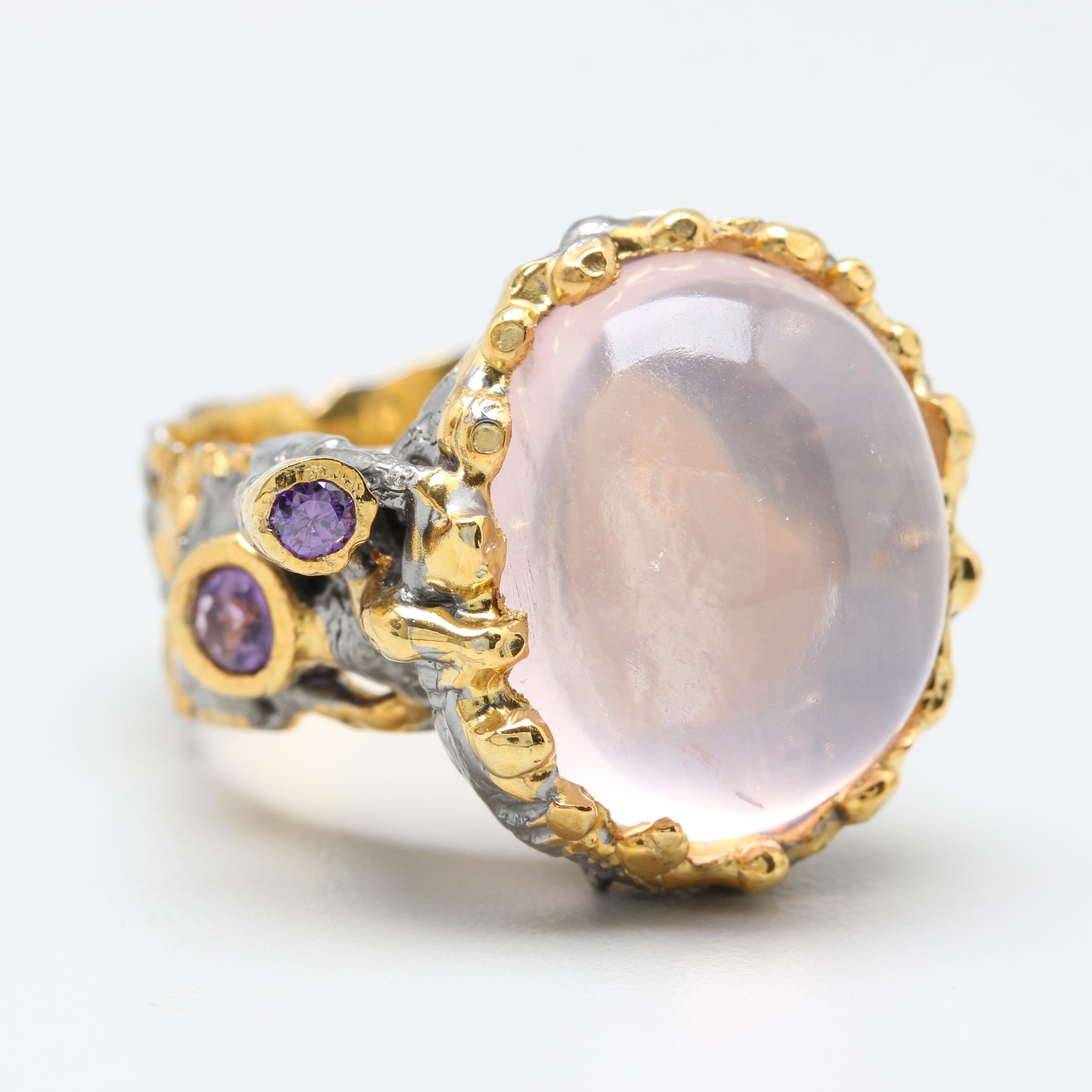 Sterling Silver Rose Quartz and Amethyst Ring with Gold Wash
