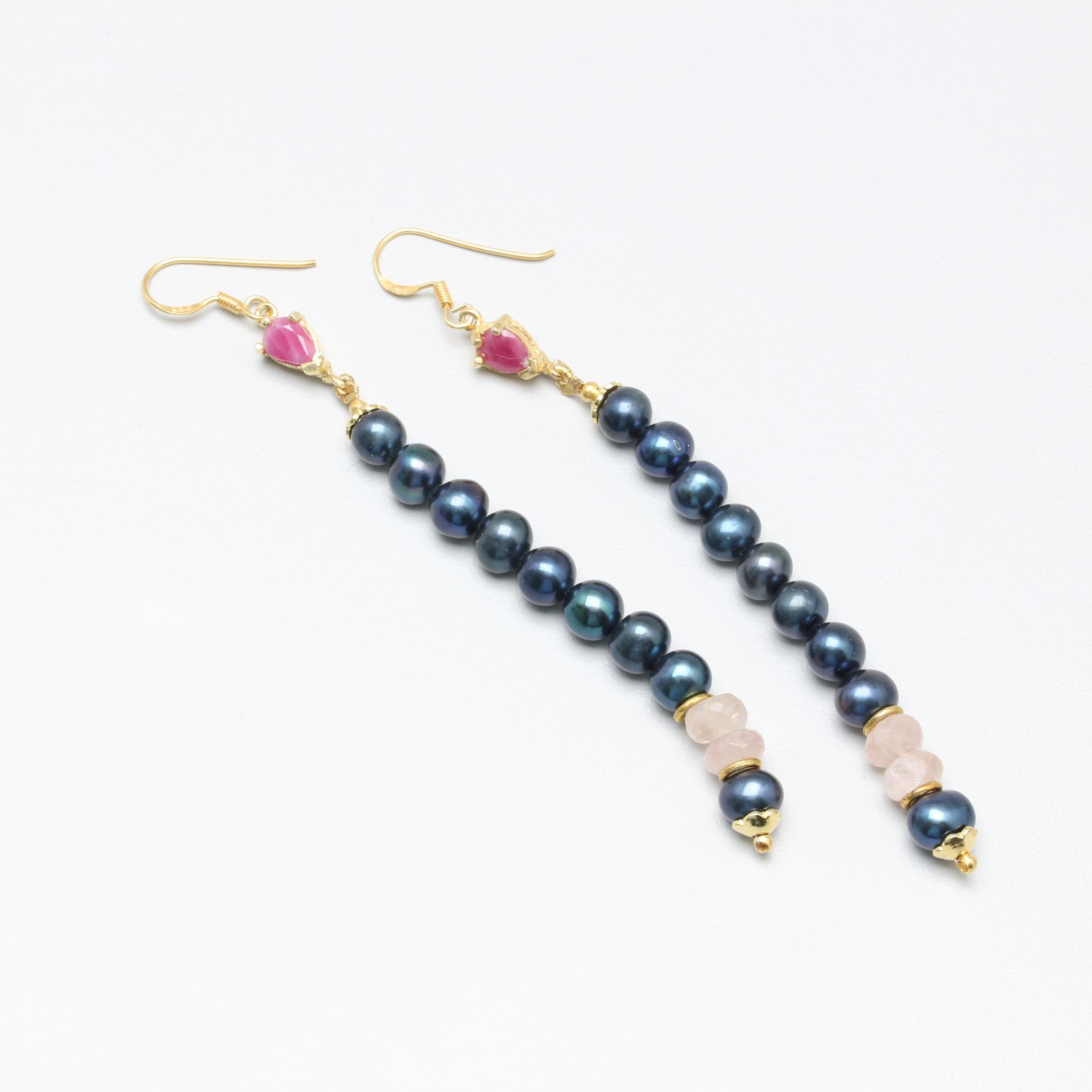 Gold Wash Sterling Silver Cultured Pearl, Rose Quartz, and Ruby Drop Earrings