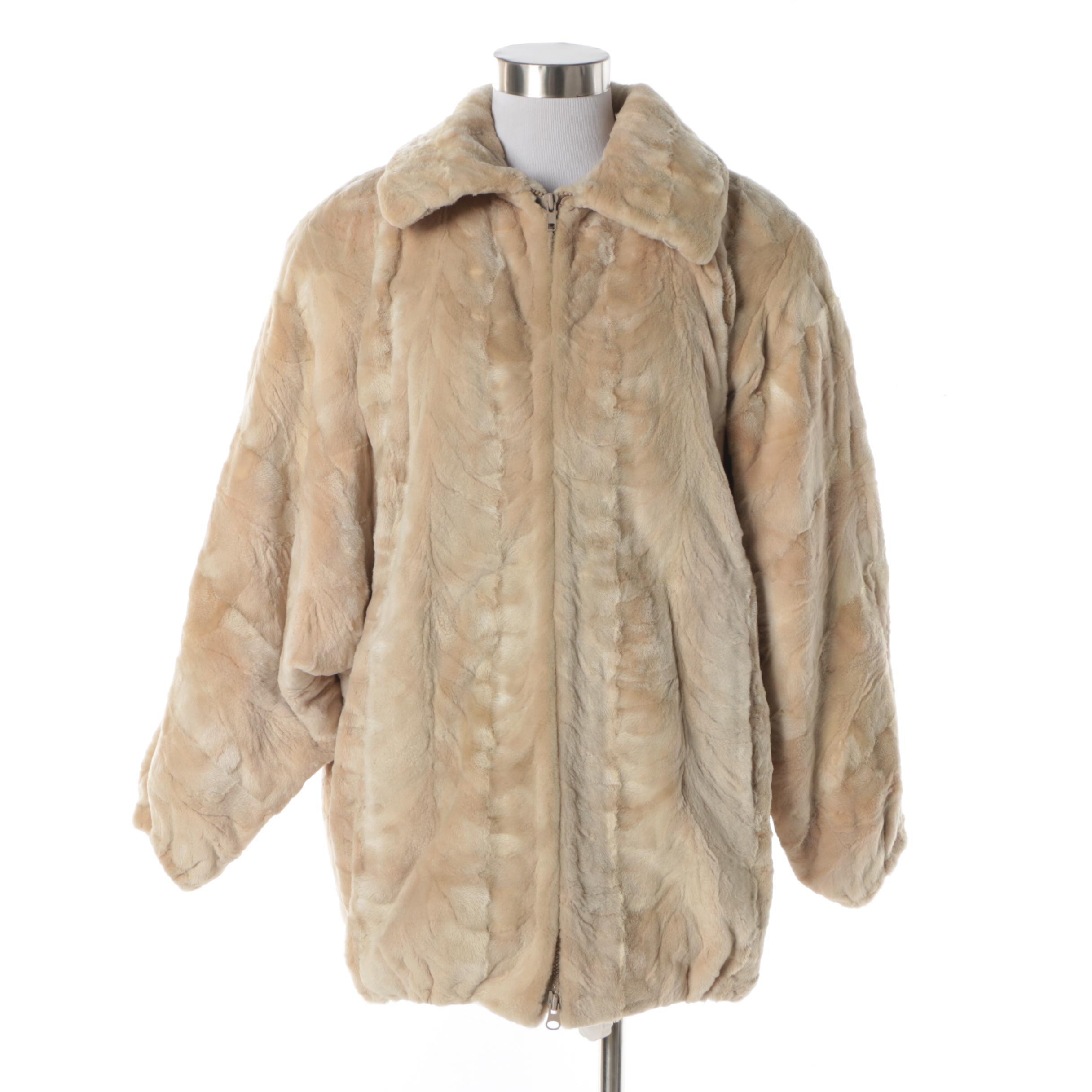 Women's Vinatge Leonard Furs Patchwork Sheared Bleached Beaver Fur Coat