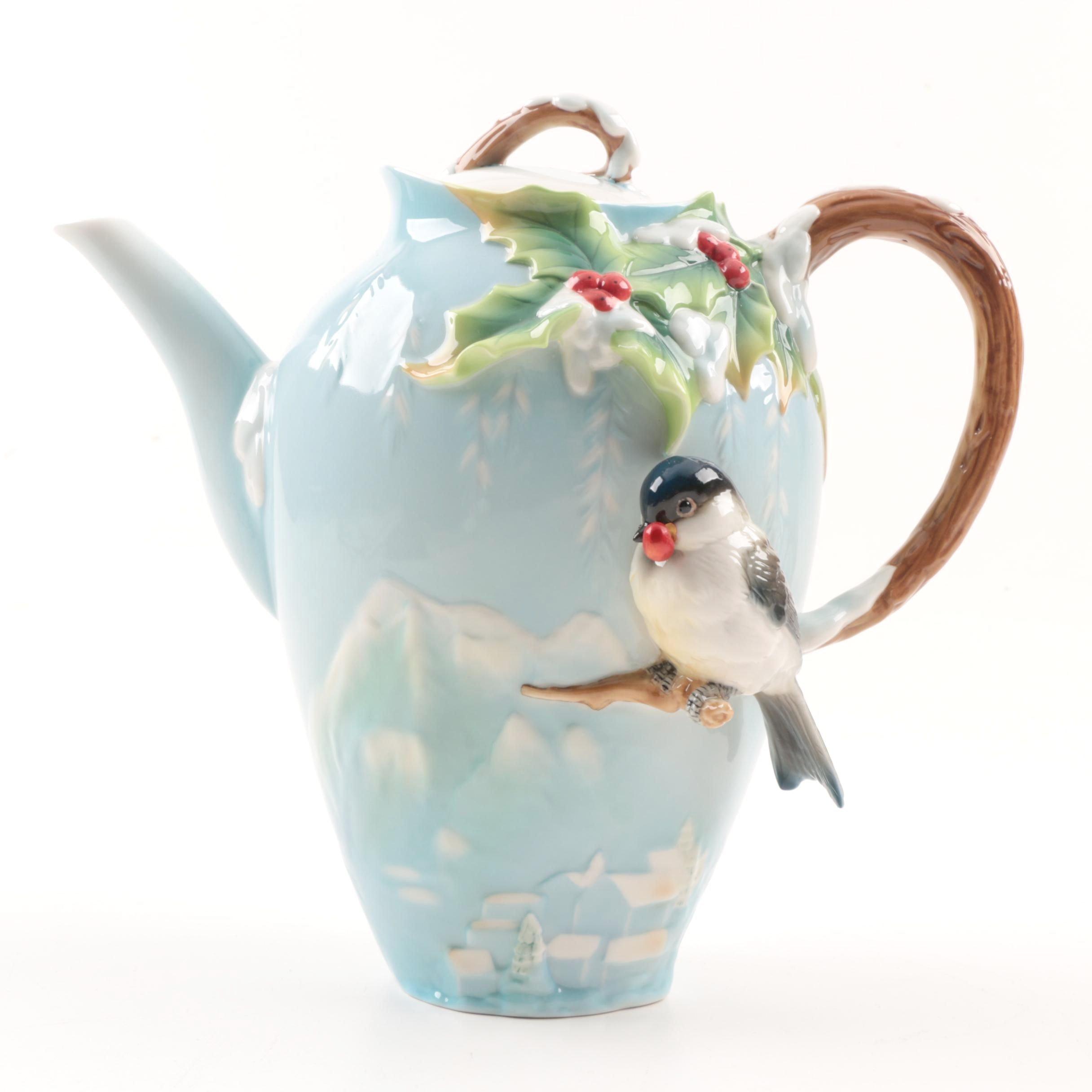 "Franz Porcelain ""Holiday Beginning"" Coffee Pot"
