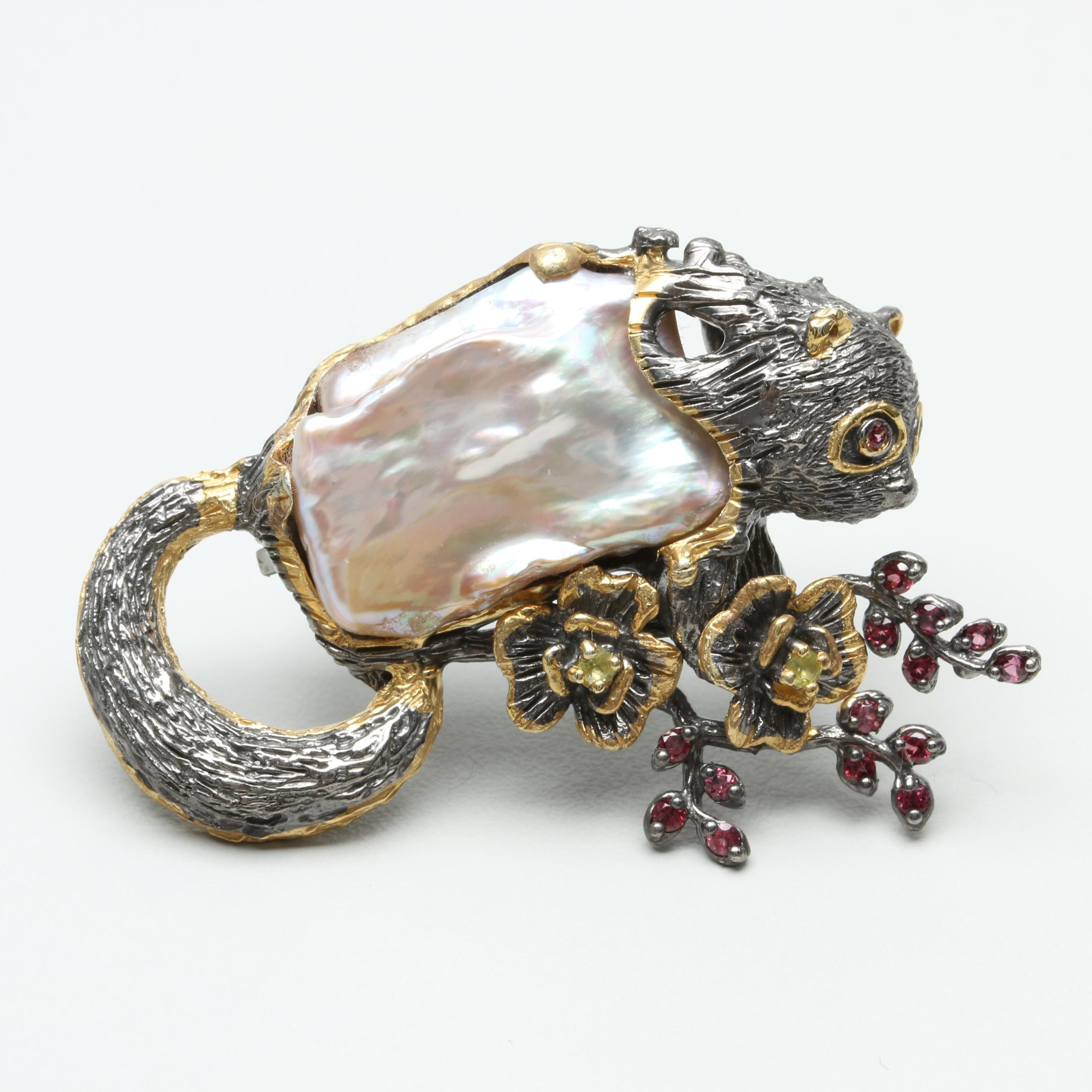 Sterling Silver Cultured Pearl, Rhodolite and Peridot Galago Brooch
