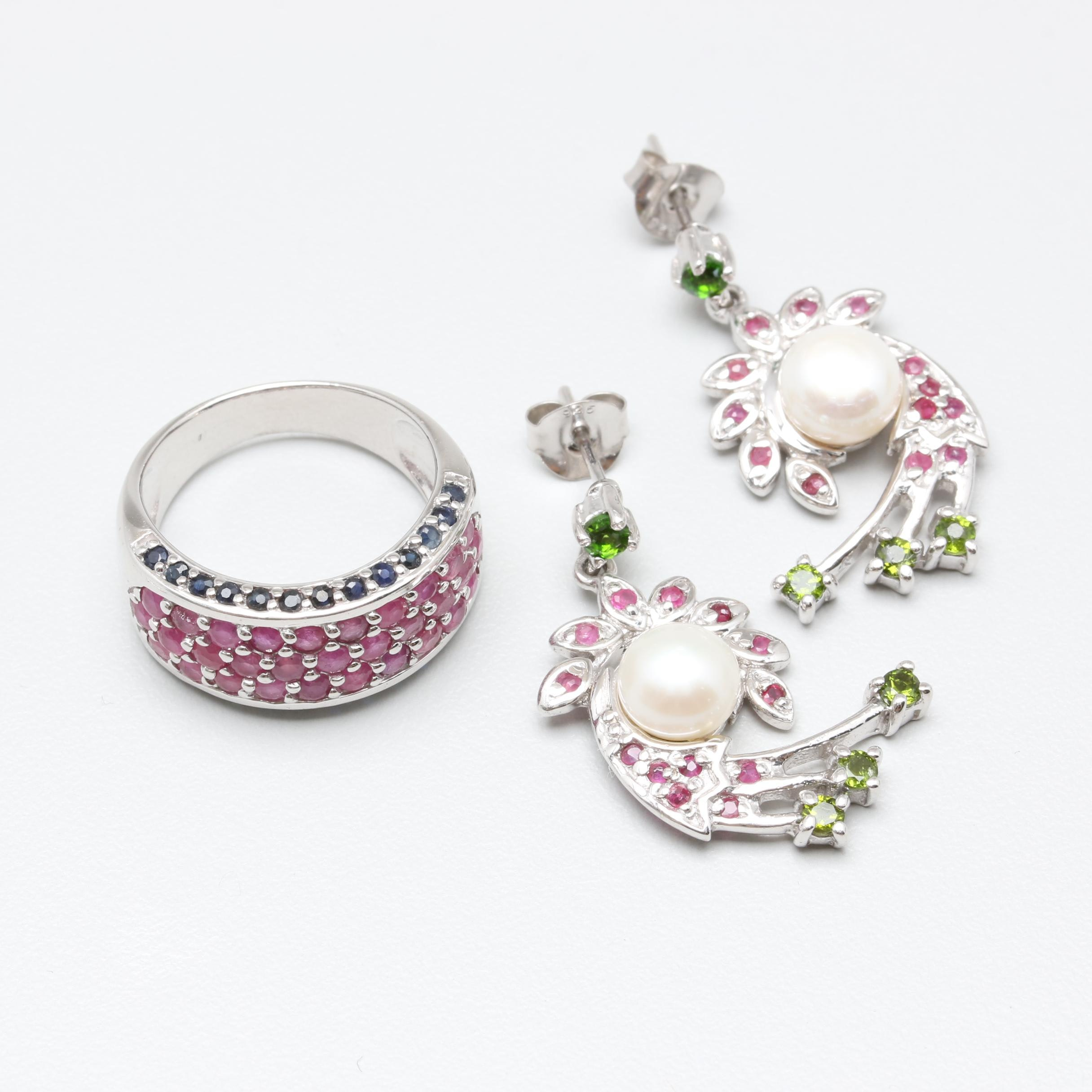 Sterling Silver Ruby and Sapphire Ring with Gemstone Earrings