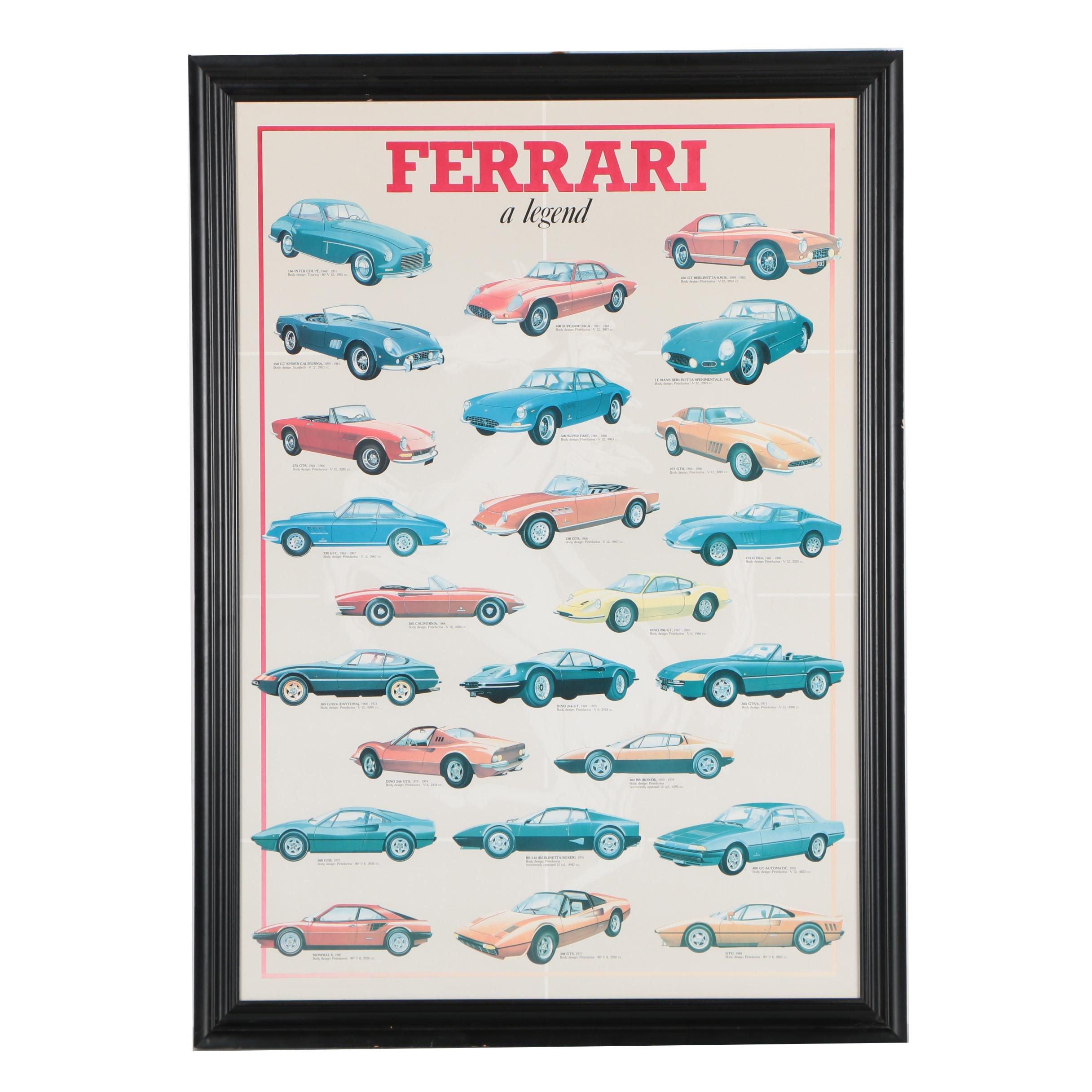 """Offset Lithograph Poster """"Ferrari, a legend"""""""