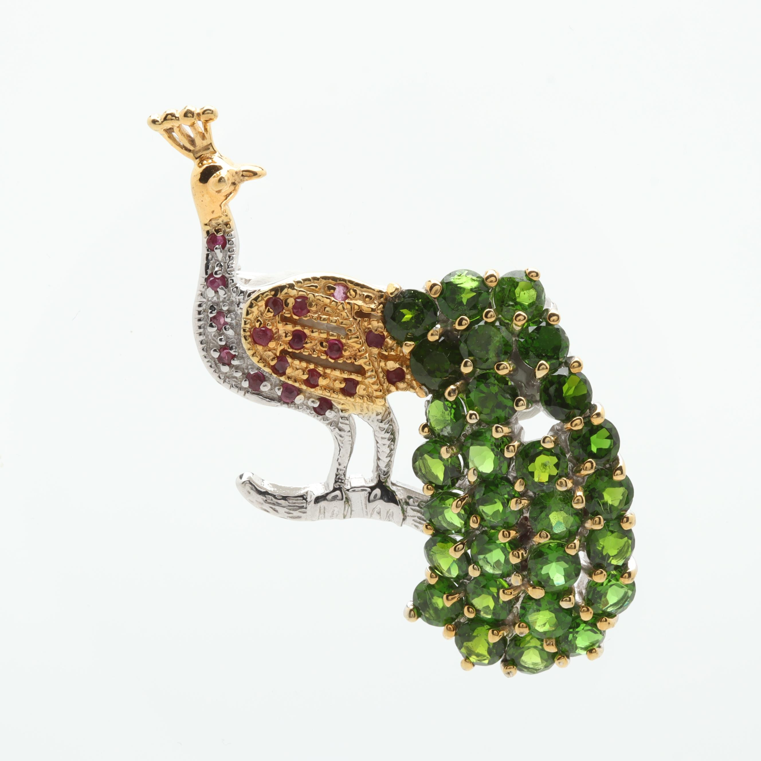 Sterling Silver Diopside and Ruby Peacock Brooch