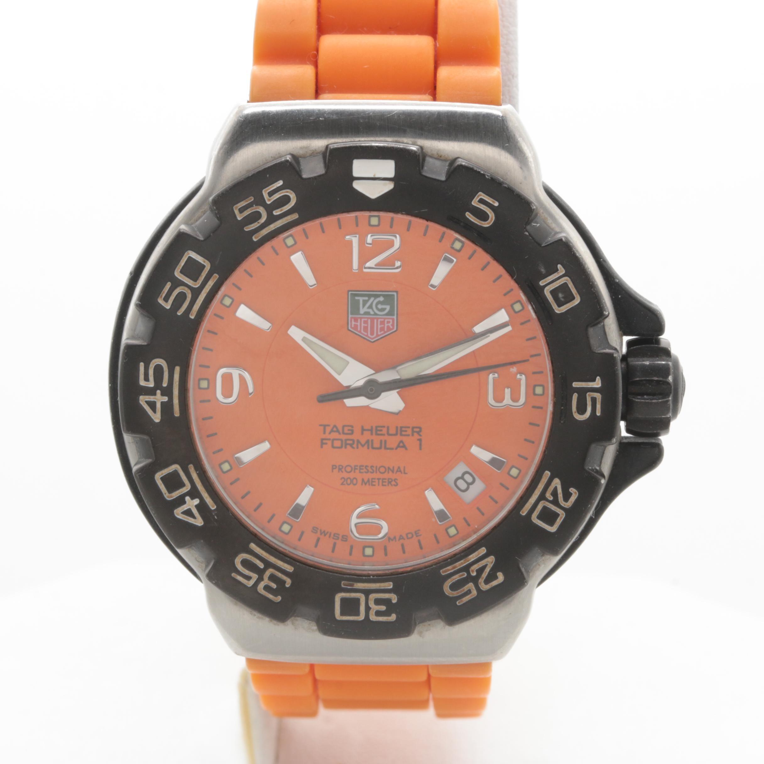 TAG Heuer Stainless Steel Orange Rubber Wristwatch