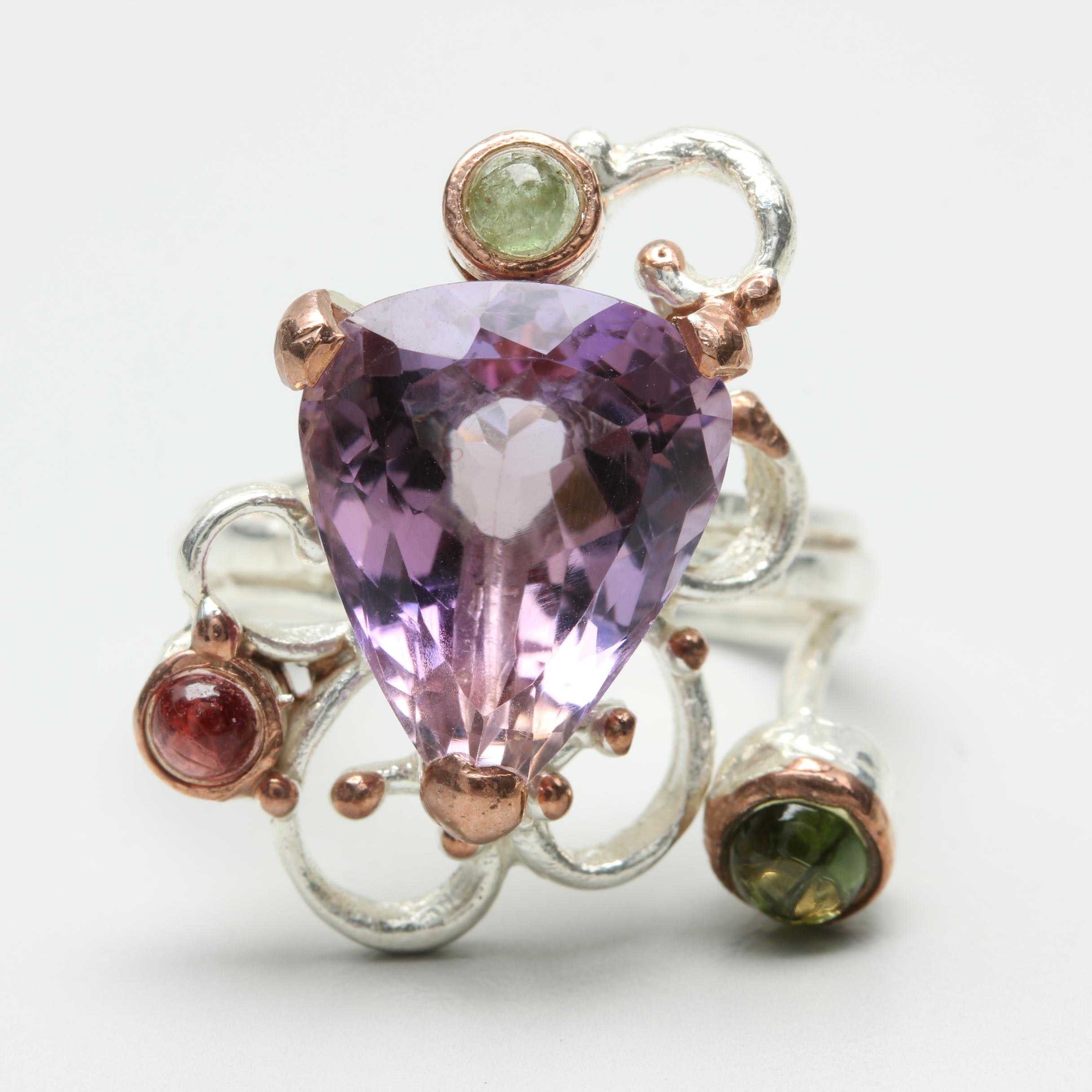 Sterling Silver Amethyst, Tourmaline, and Peridot Abstract Ring