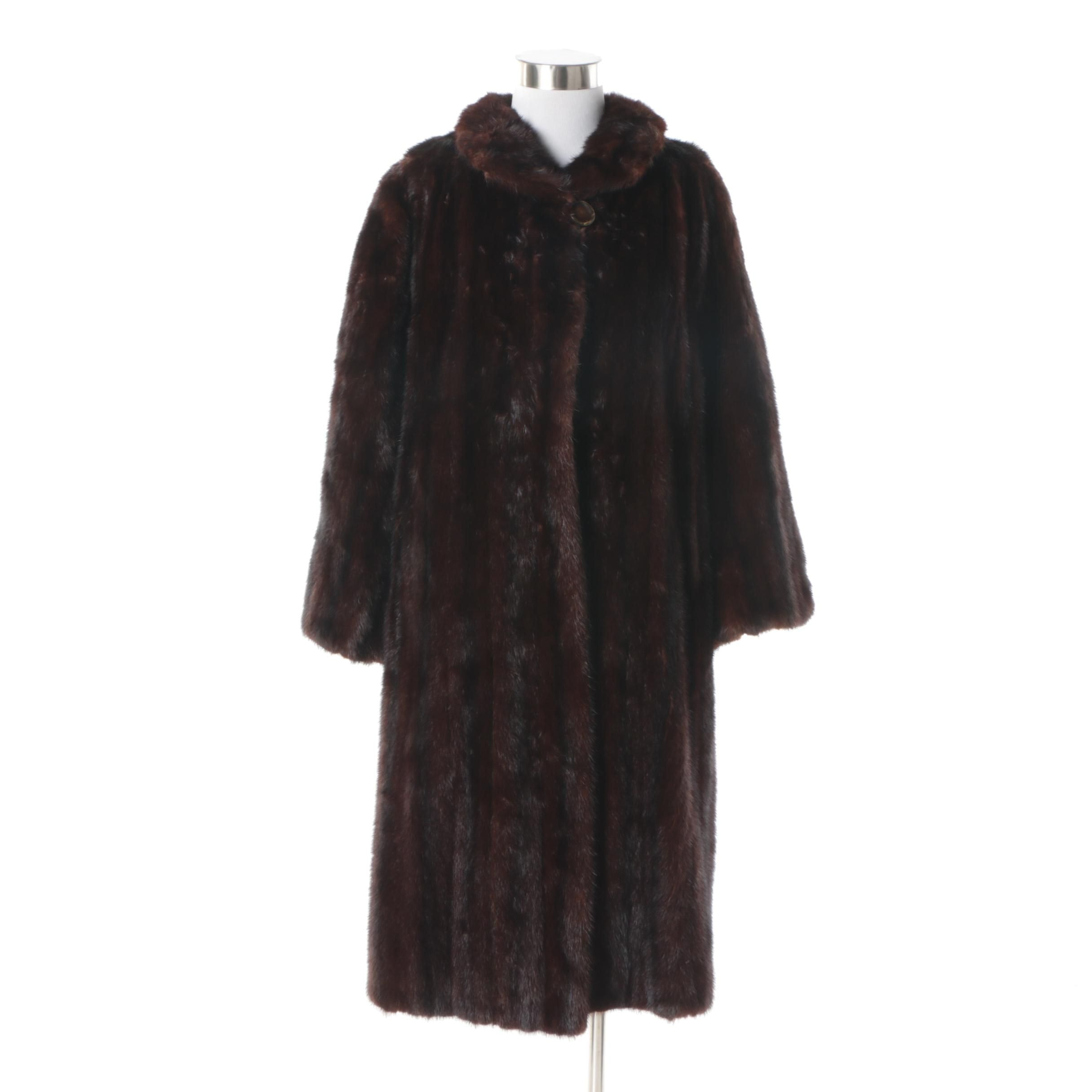 Women's Vintage Furs by Eleni Dark Mahogany Brown Mink Fur Coat