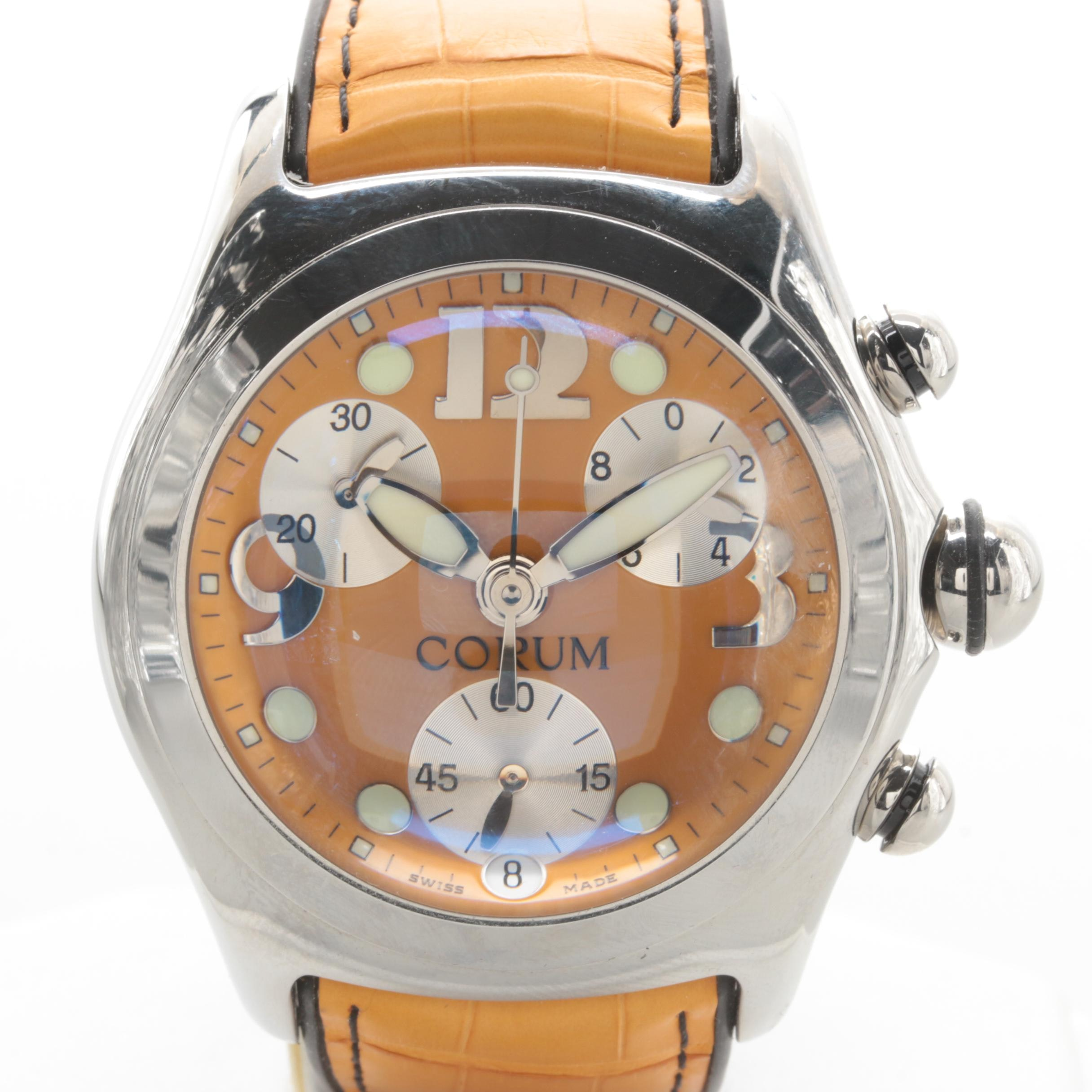 Corum Stainless Steel Chronograph Bubble Wristwatch with Yellow Leather Strap