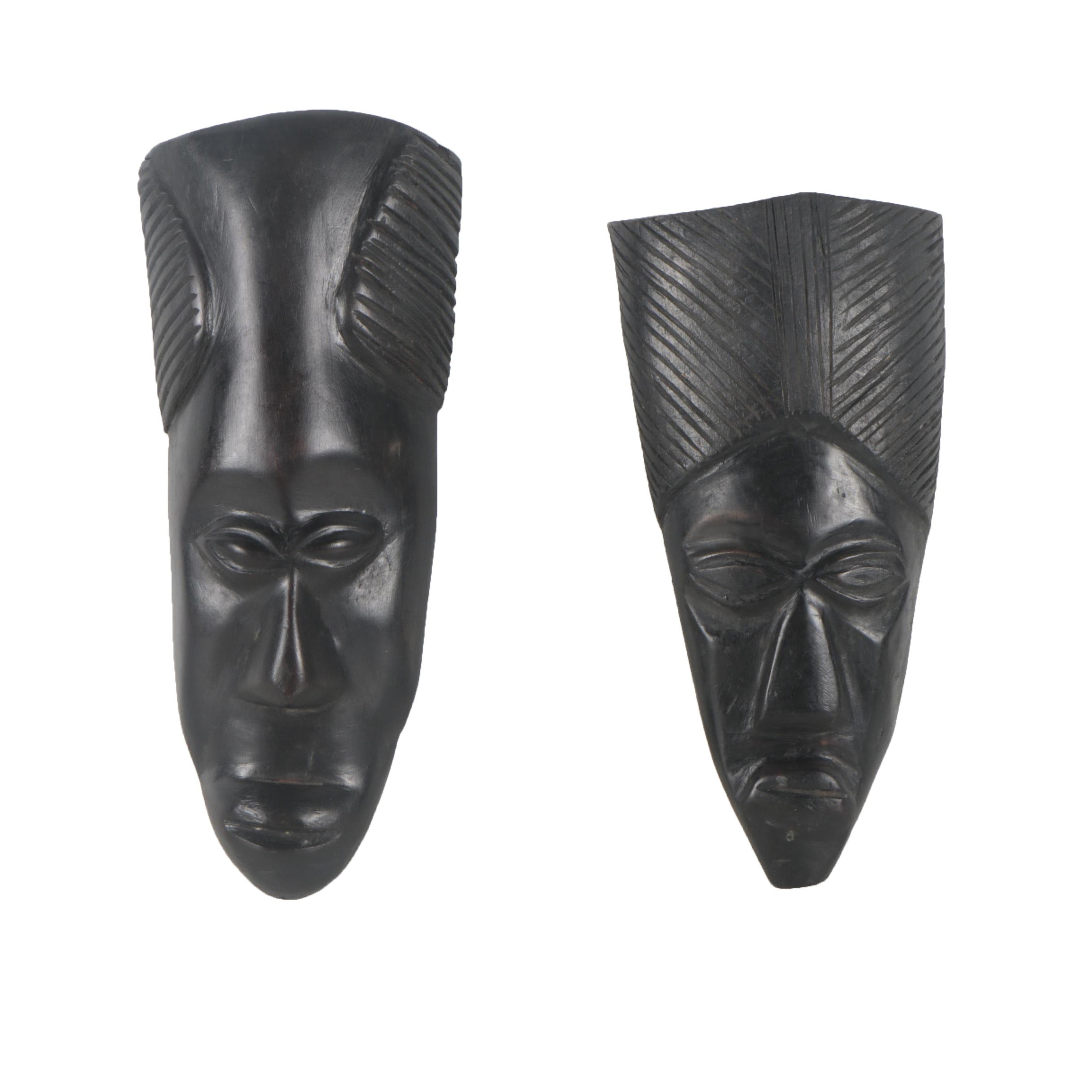 East African Style Carved Wood Wall Masks