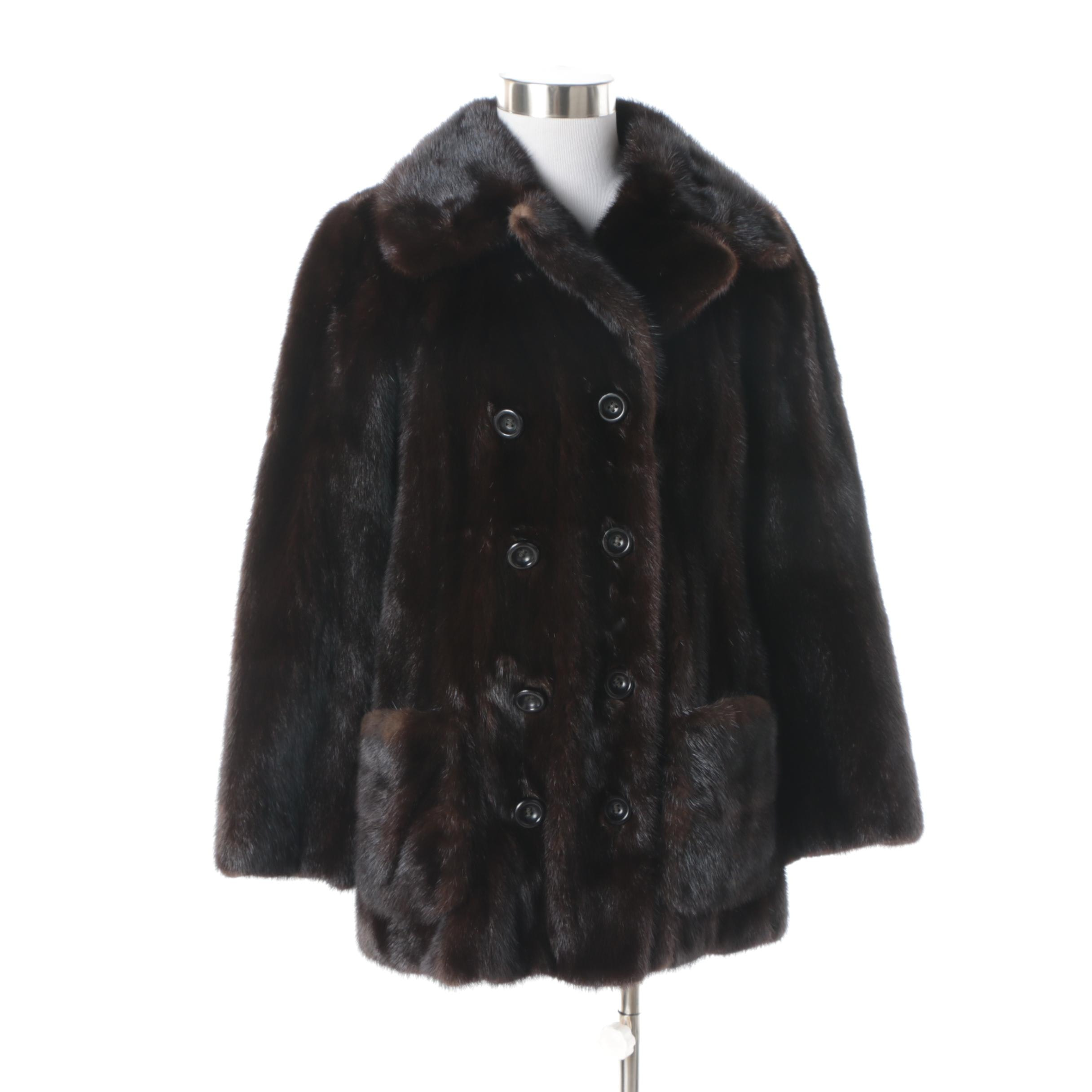 Women's Vintage Dark Brown Double-Breasted Mink Fur Coat