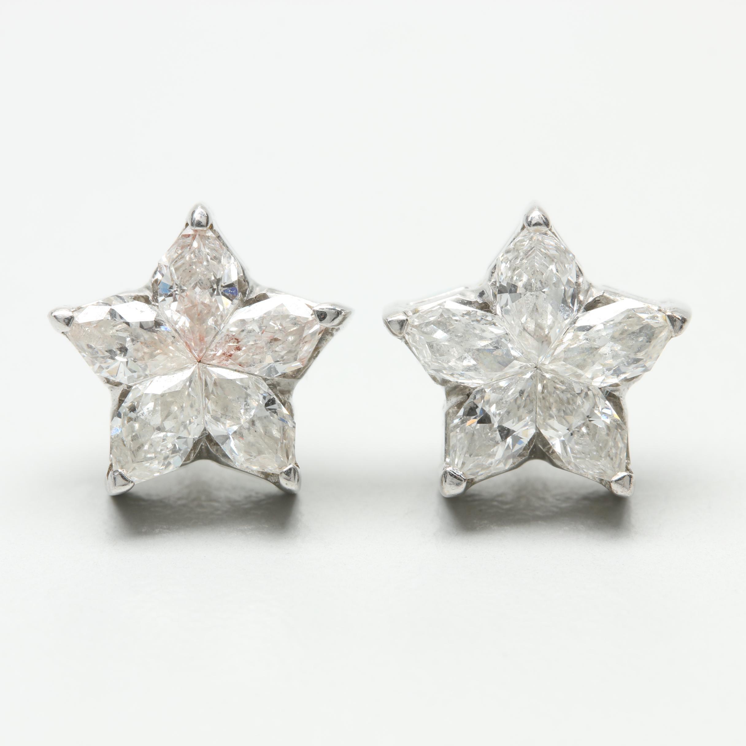 18K White Gold 1.44 CTW Diamond Star Earrings