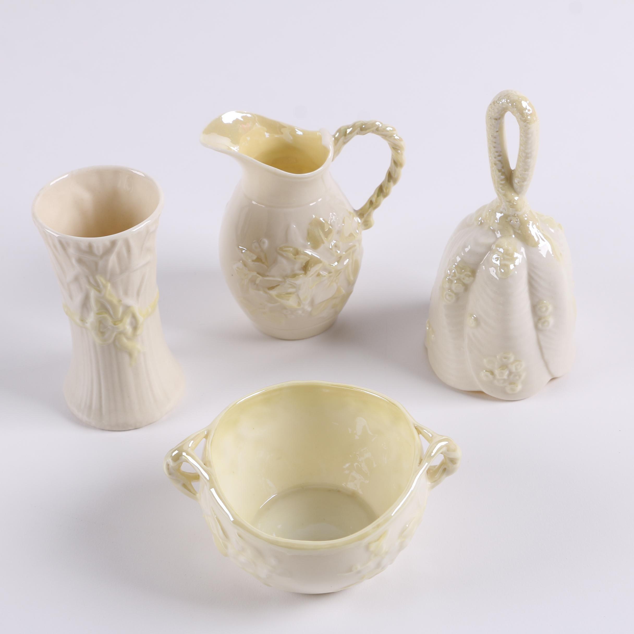 Vintage Belleek Porcelain Sugar Bowl, Creamer, and Décor