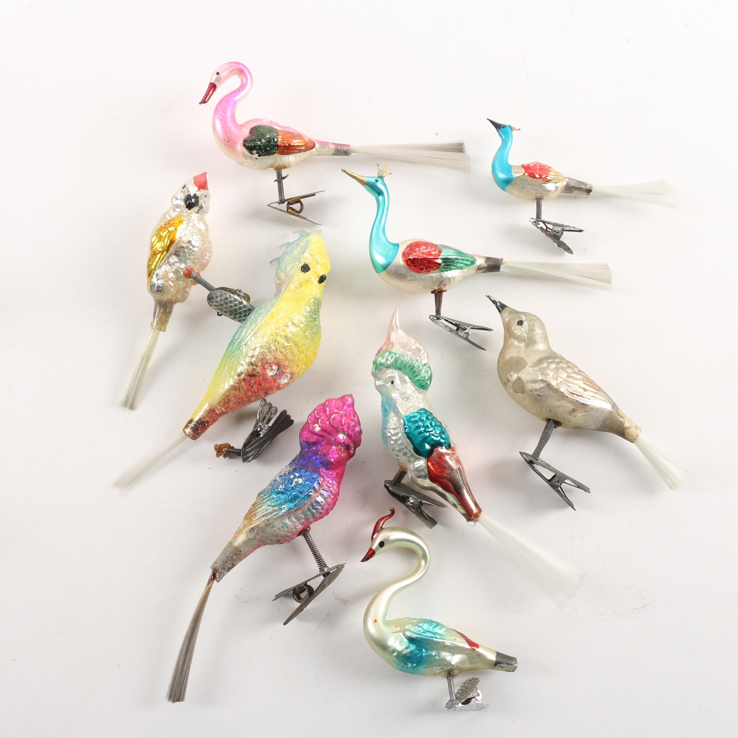 Vintage Glass Bird Clip Ornaments