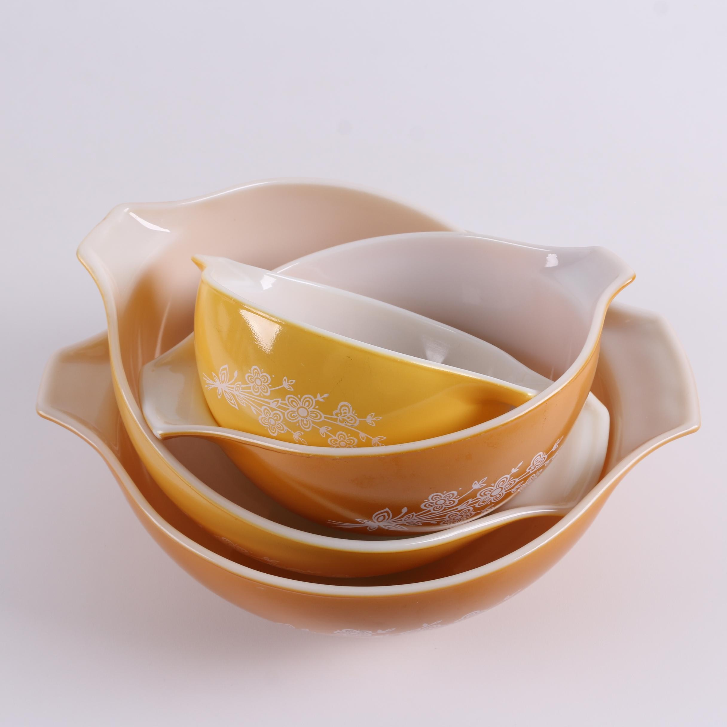 "Vintage Pyrex ""Butterfly Gold"" Cinderella Bowls c. 1979-81"