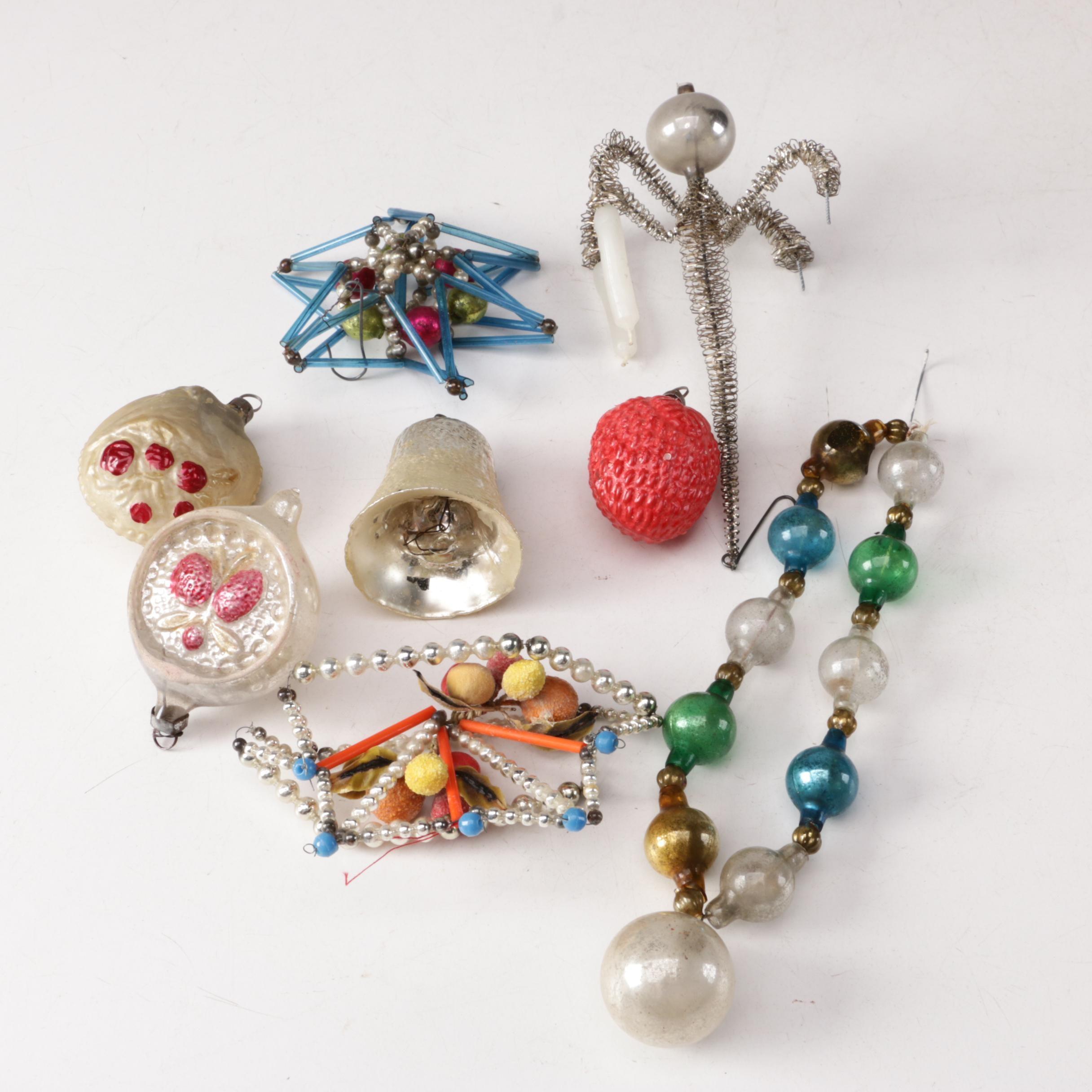 Mid Century Glass Christmas Ornaments
