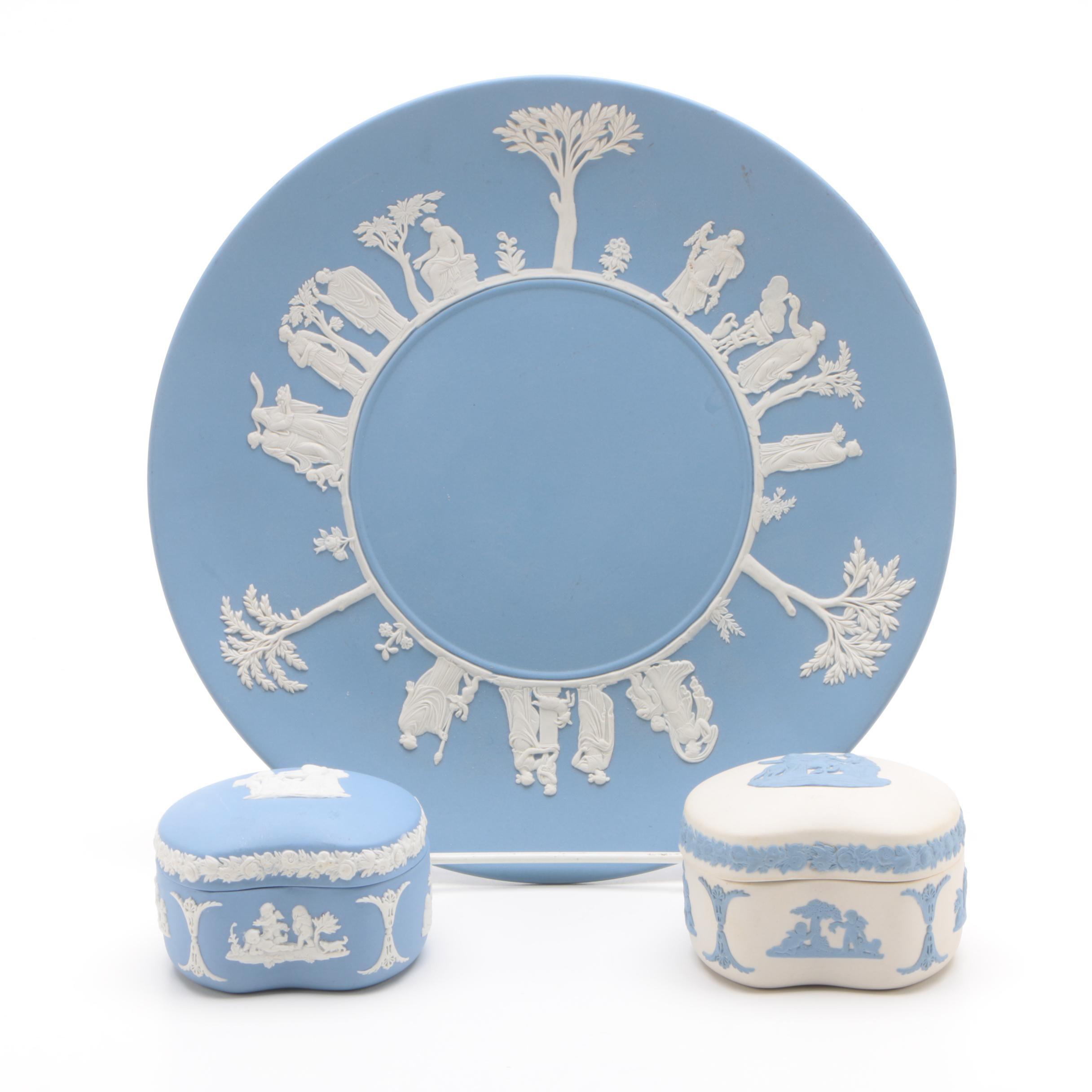 Wedgwood Jasperware Plate and Bean Boxes
