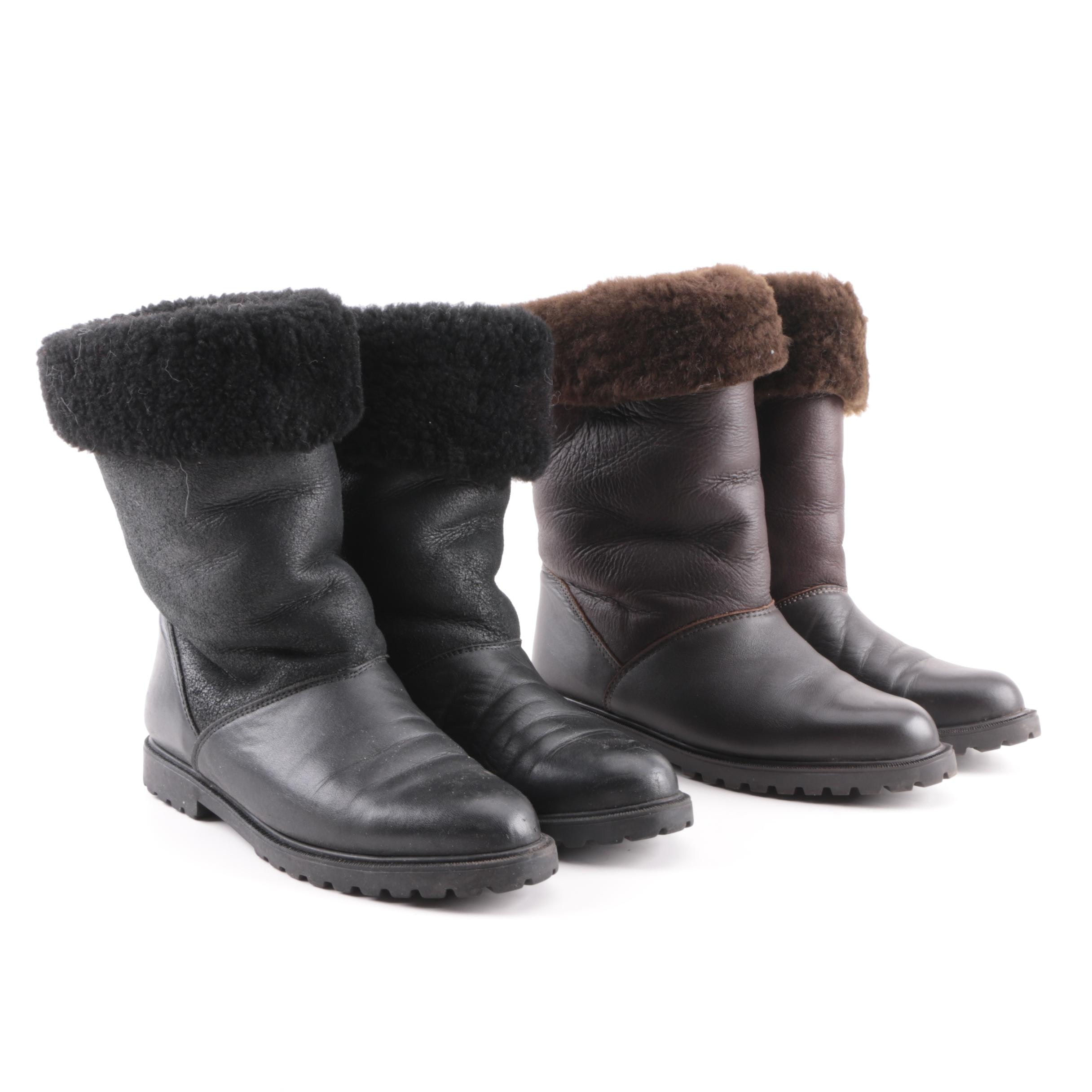 Women's La Canadienne Brown and Black Leather Boots with Shearling Liners