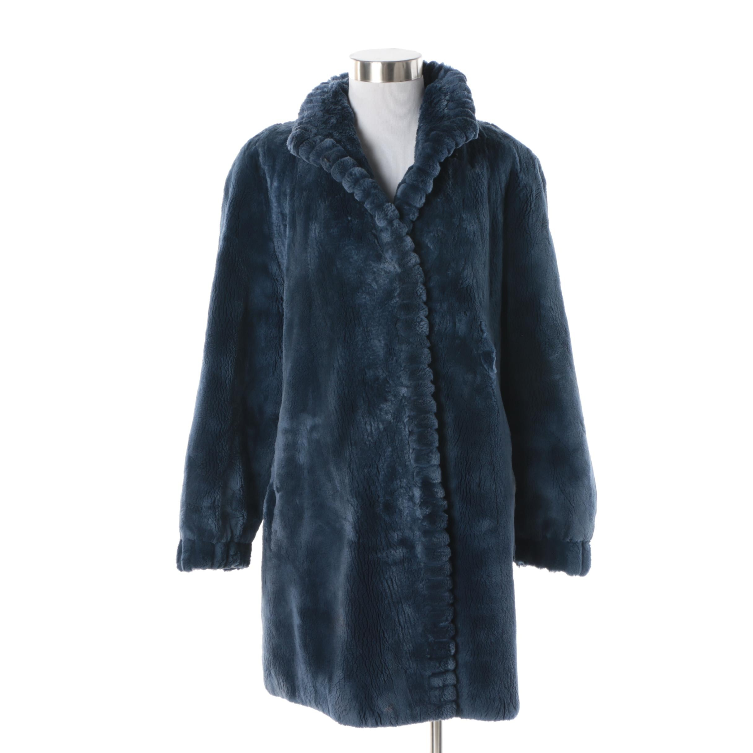 Women's Vintage Mano Swartz Dyed Blue Sheared Beaver Fur Coat