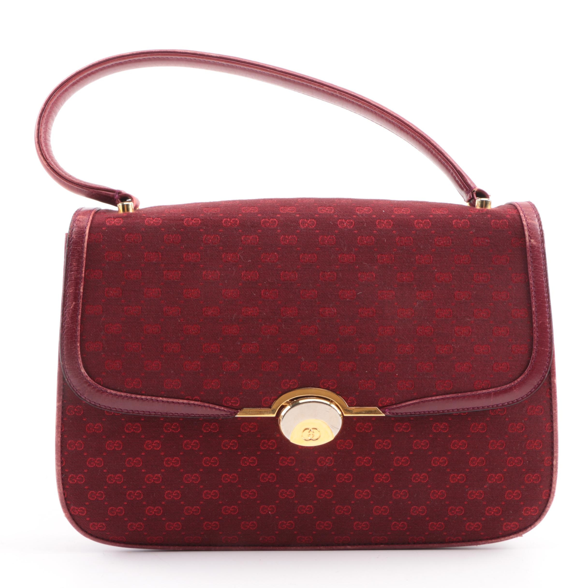 Vintage Gucci Maroon GG Canvas Top Handle Bag