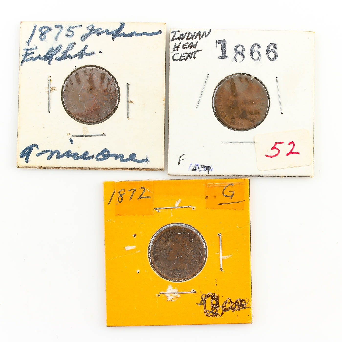 Three Better Date Indian Head Cents