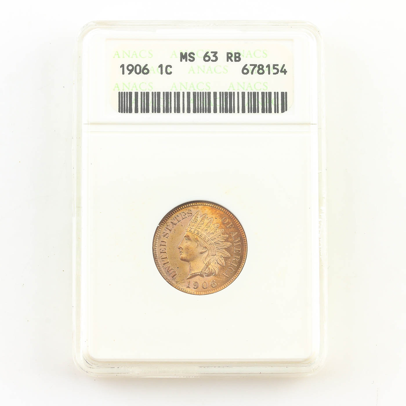 ANACS Graded MS63 RB 1906 Indian Head Cent