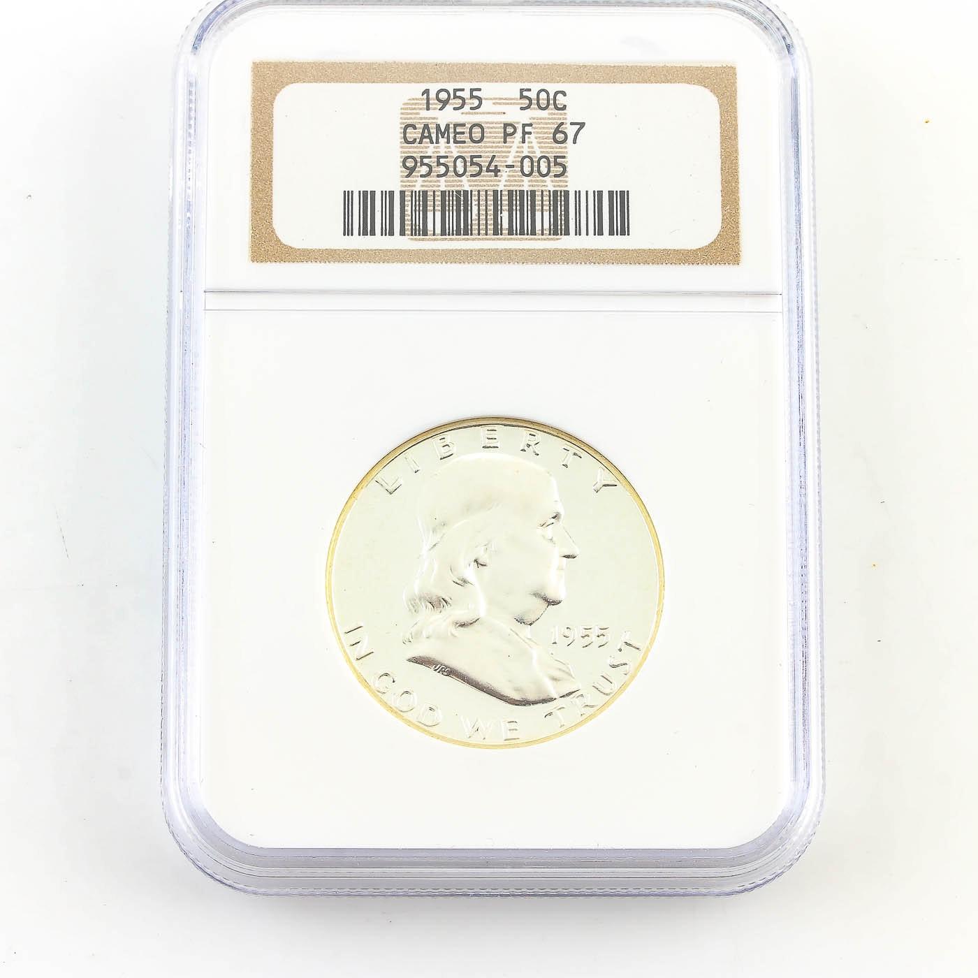 NGC Graded PF67 Cameo 1955 Franklin Silver Half Dollar