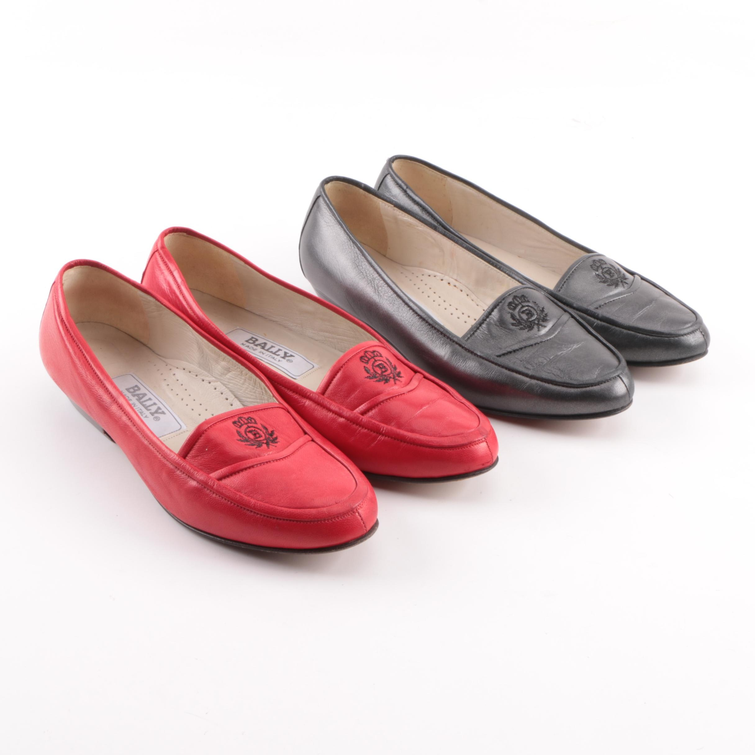 Women's Bally Red and Black Leather Loafers with Embroidered Logo
