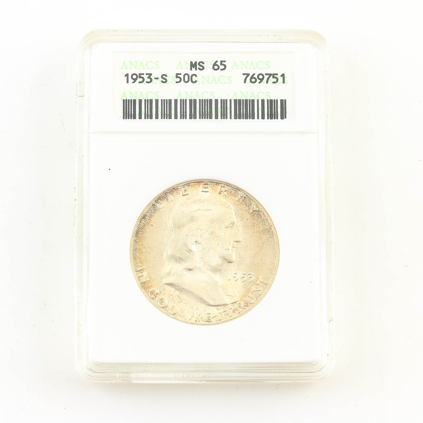 ANACS Graded MS65 1953-S Franklin Silver Half Dollar
