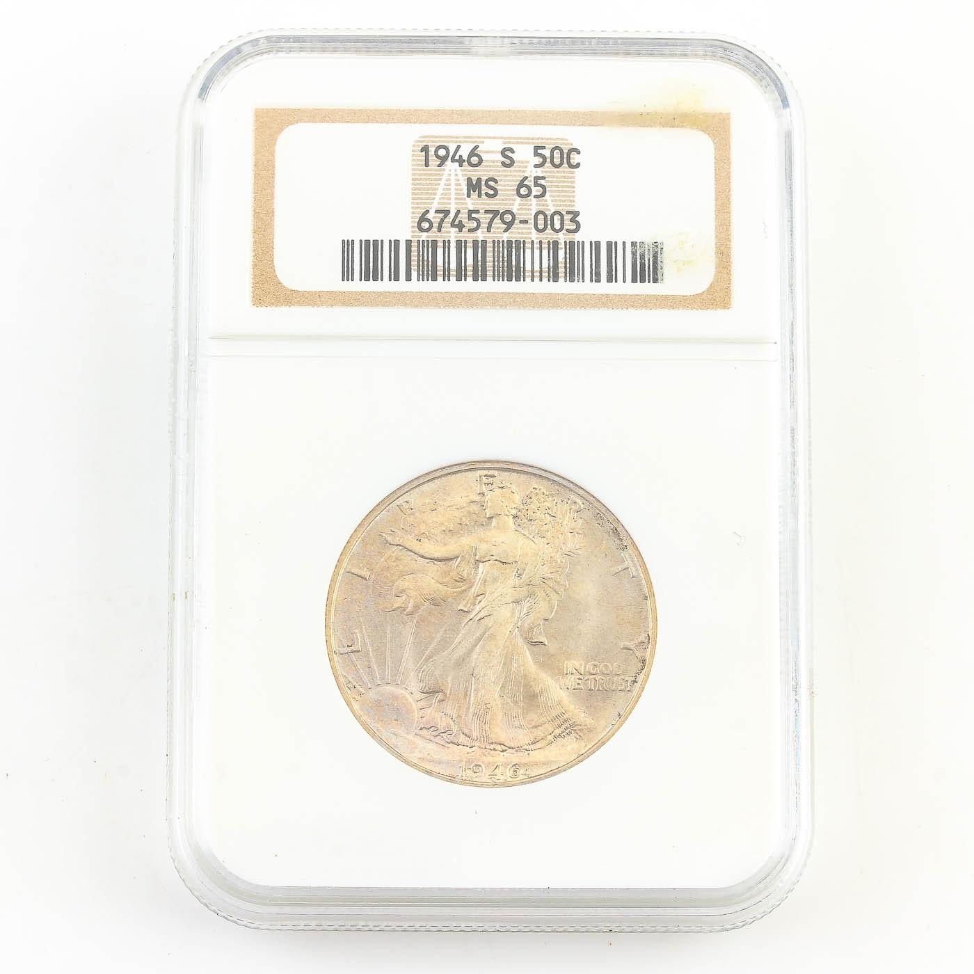 NGC Graded MS65 1946-S Walking Liberty Silver Half Dollar