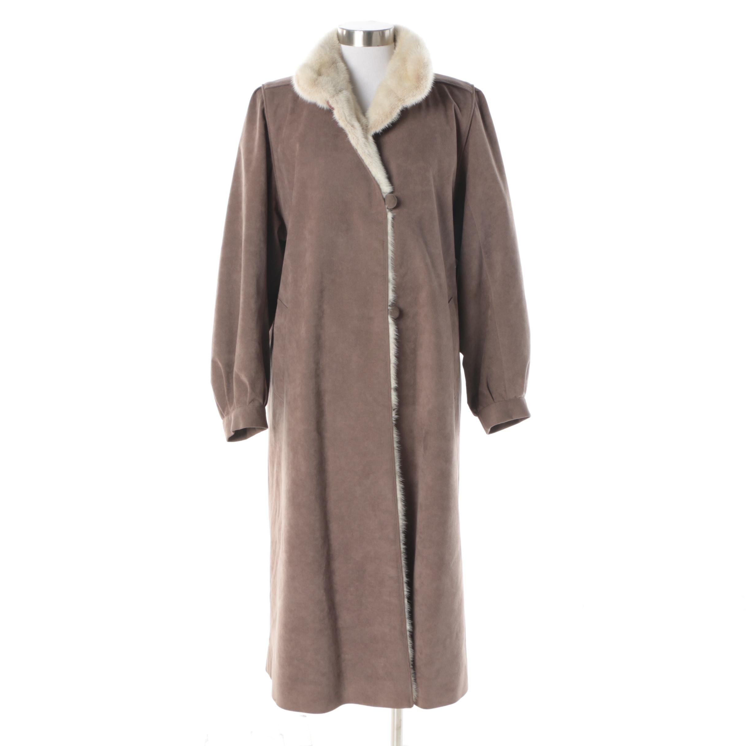 Women's Vintage Taupe Suede Coat with White Mink Fur Collar and Lining