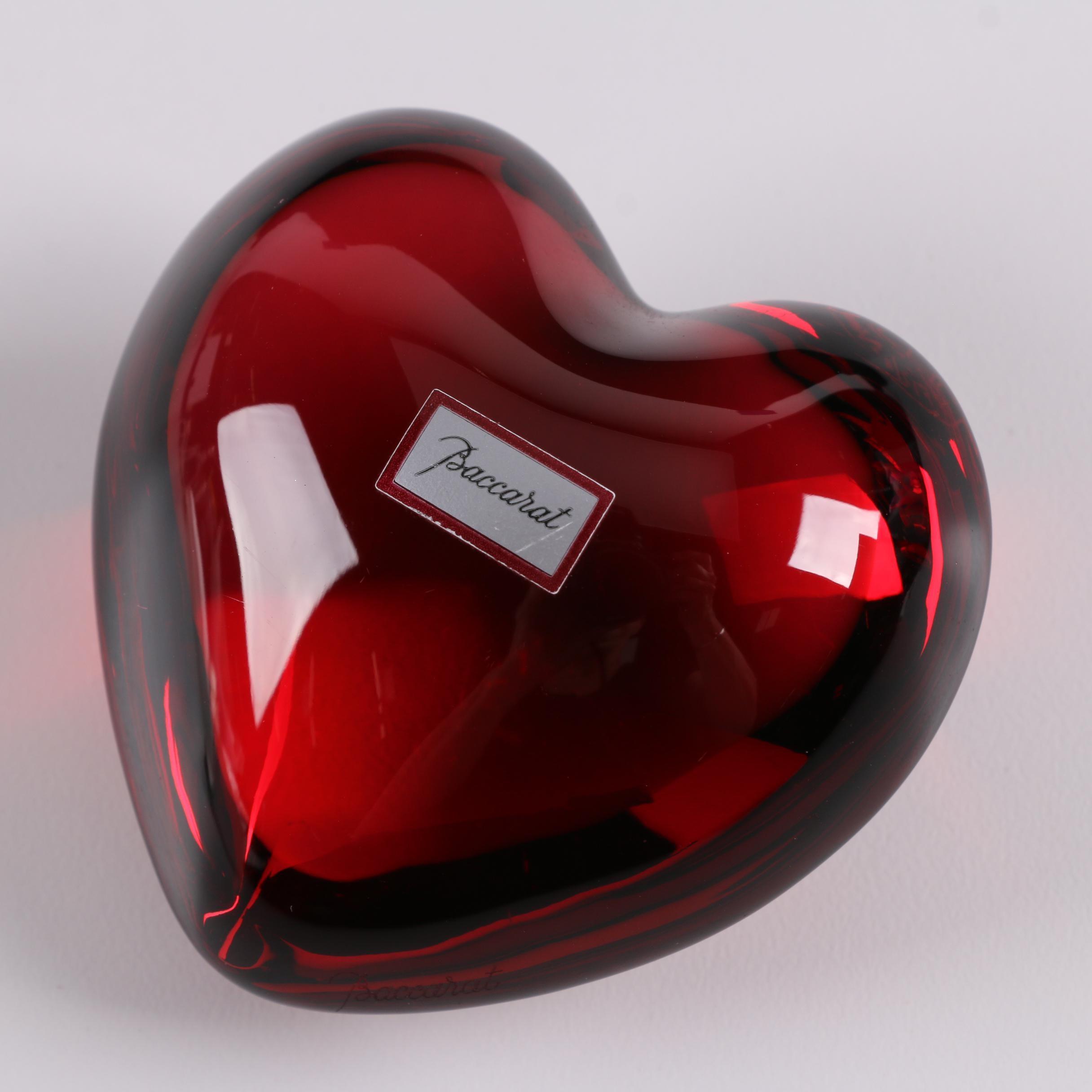 "Baccarat ""Coeur Cupid"" Crystal Heart Paperweight"