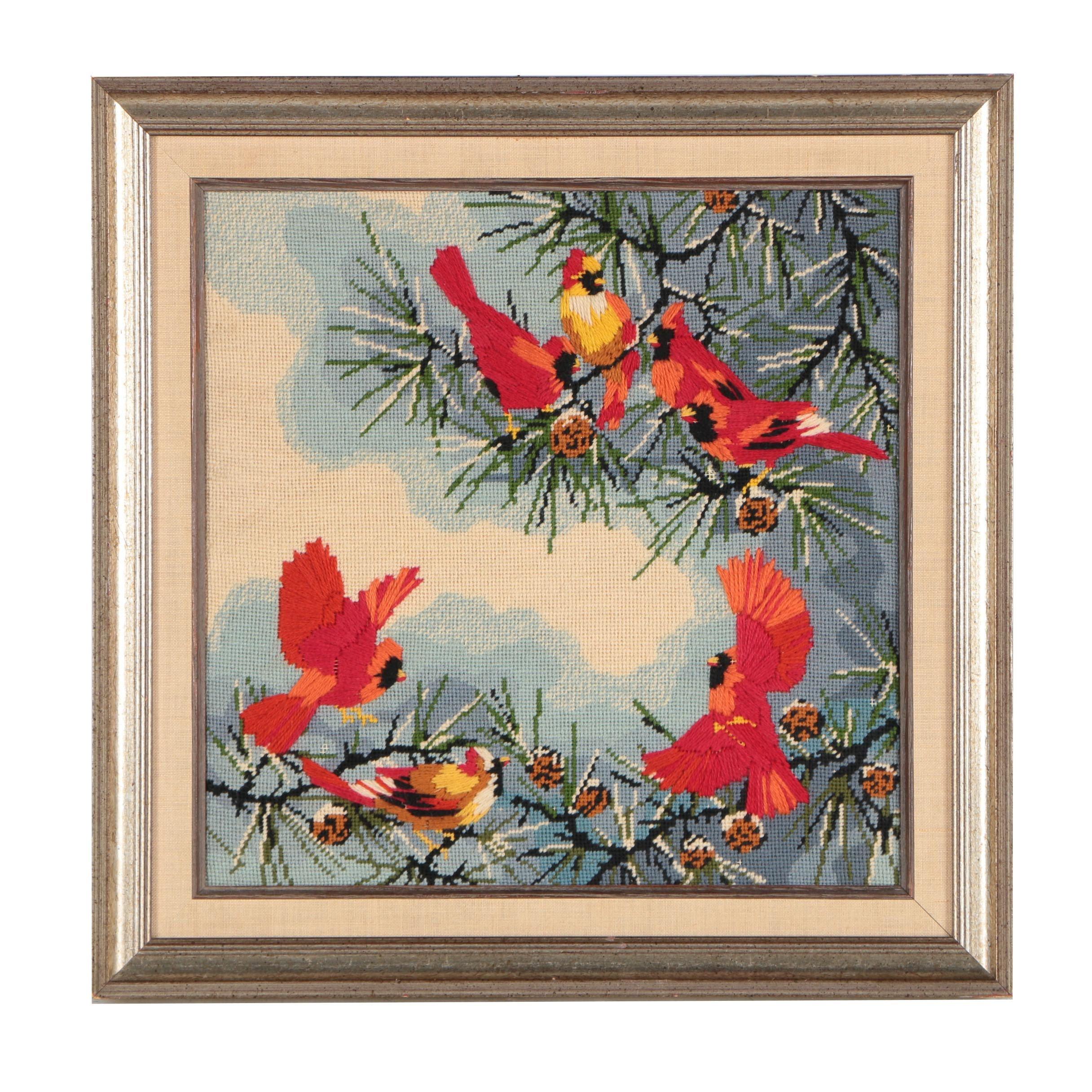 Framed Needlepoint of Cardinals