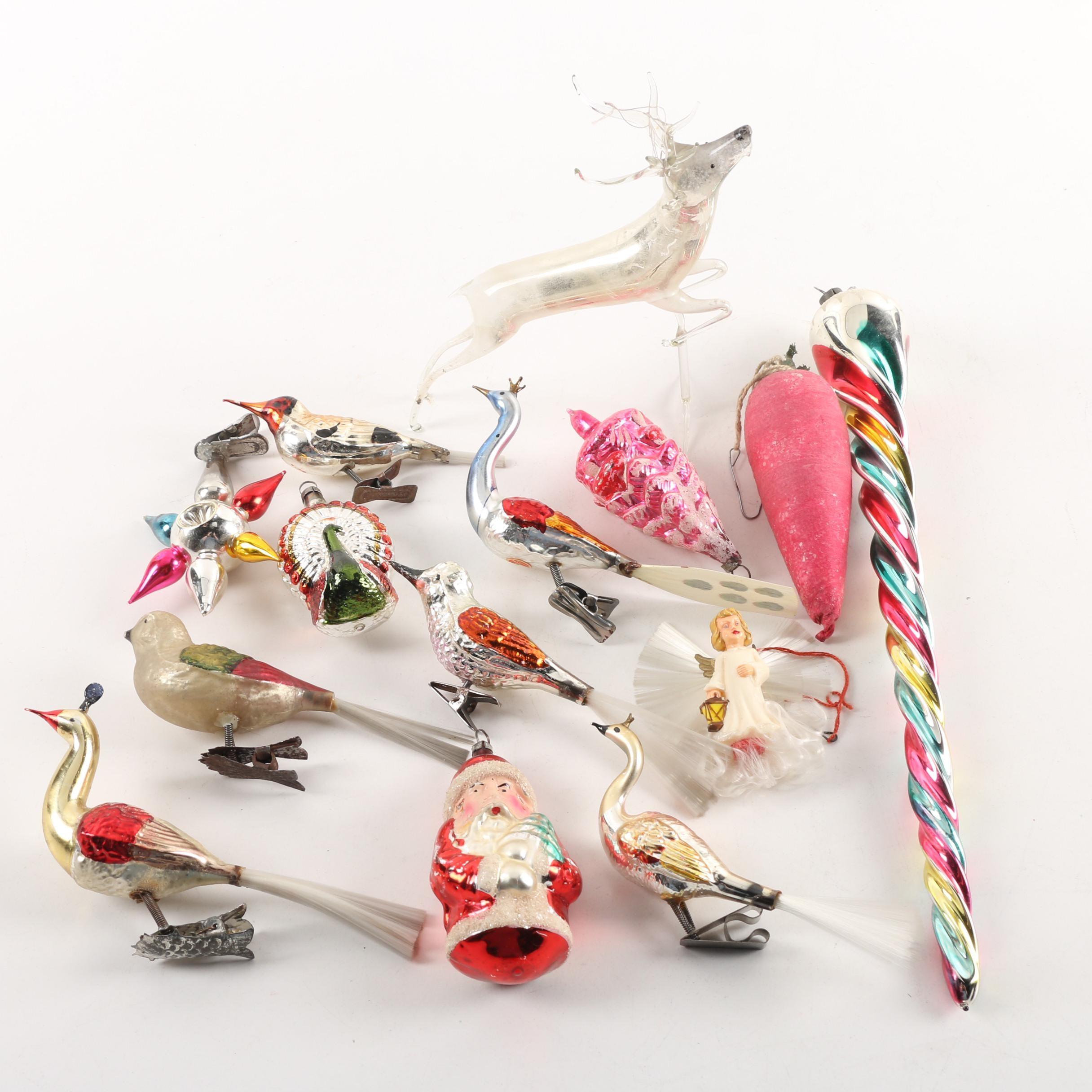Mid Century Blown Glass Ornaments with Mercury Glass Bird Clips