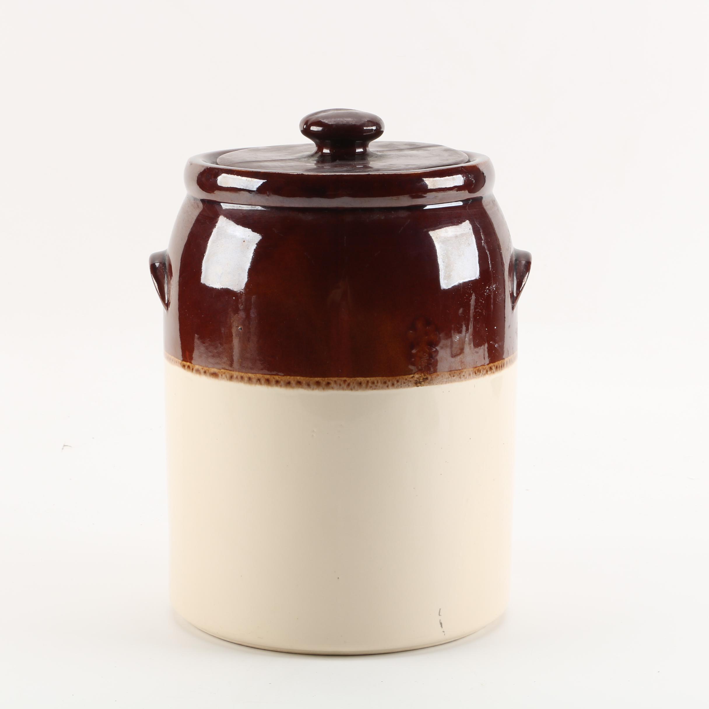 Vintage McCoy Two Tone Slip Glazed Lidded Stoneware Crock