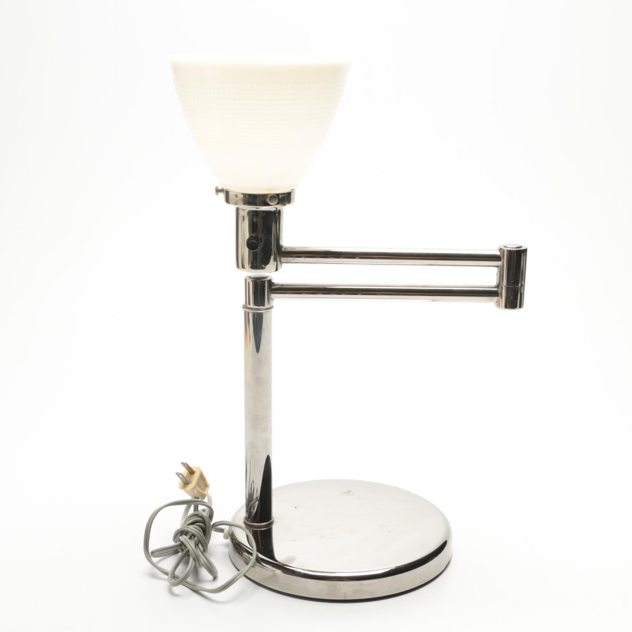 Modernist Swing Arm Desk Lamp In Chrome  Finish With Milk Glass Shade